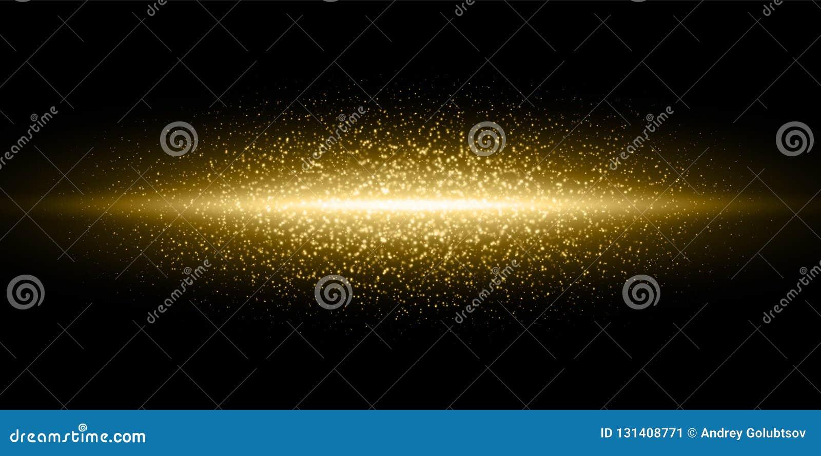 Złota światła błysku błyskotliwości pyłu cząsteczki pękają tło, Wektorowa złota shimmer raców łuny linia, magiczny połyskiwać bły
