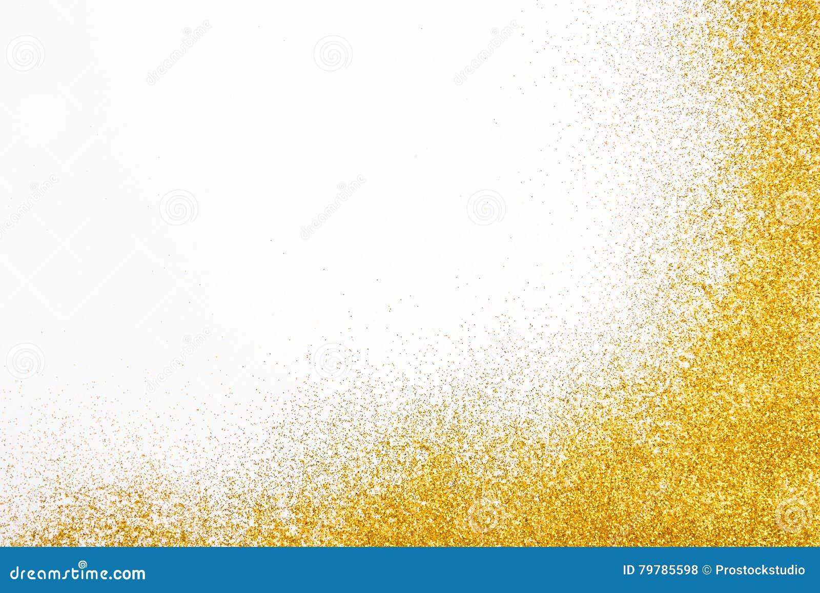 Złota błyskotliwość piaska tekstury rama na białym, abstrakcjonistycznym tle,