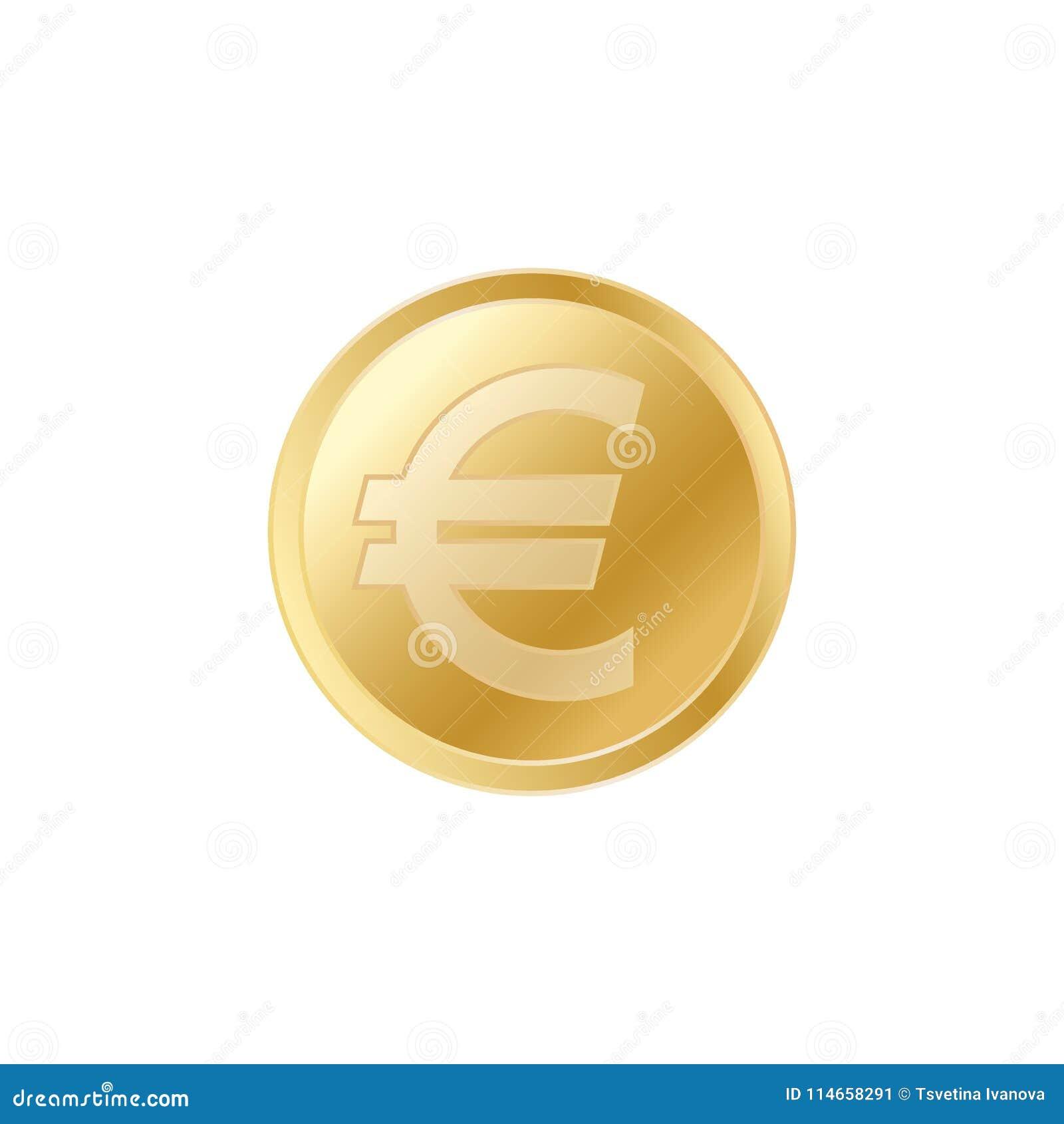 Złota euro moneta Realistyczna lifelike złocista euro moneta