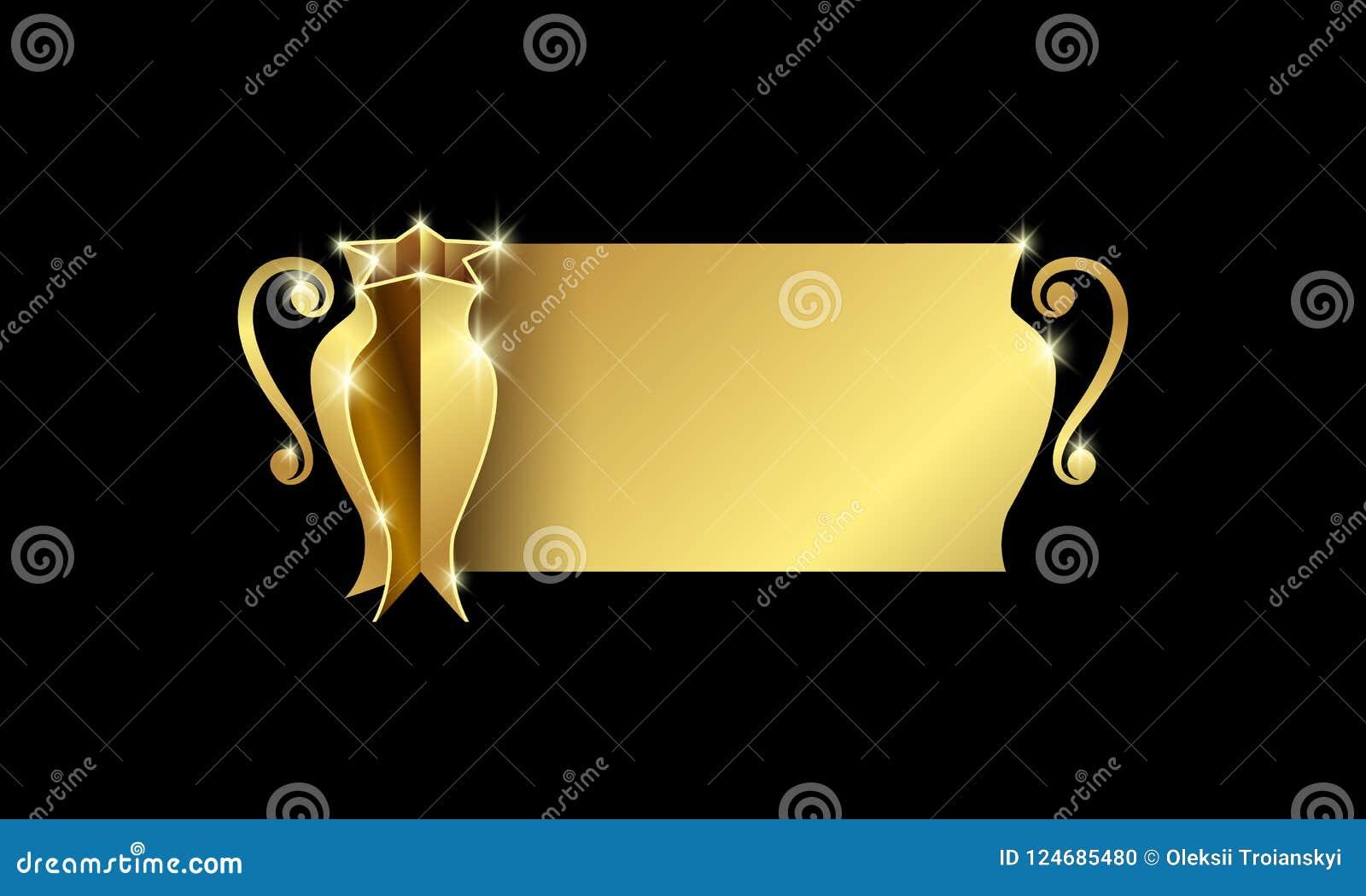 Złota filiżanka mistrzowie z przestrzenią dla teksta Abstrakcjonistyczny trofeum sztandar dla futbolu, koszykówki, piłki nożnej i
