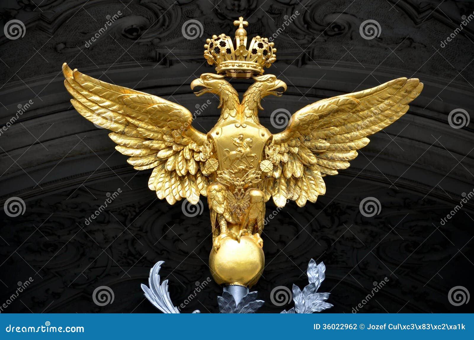 Złota kopia przewodził orła jako rosyjski krajowy emblemat