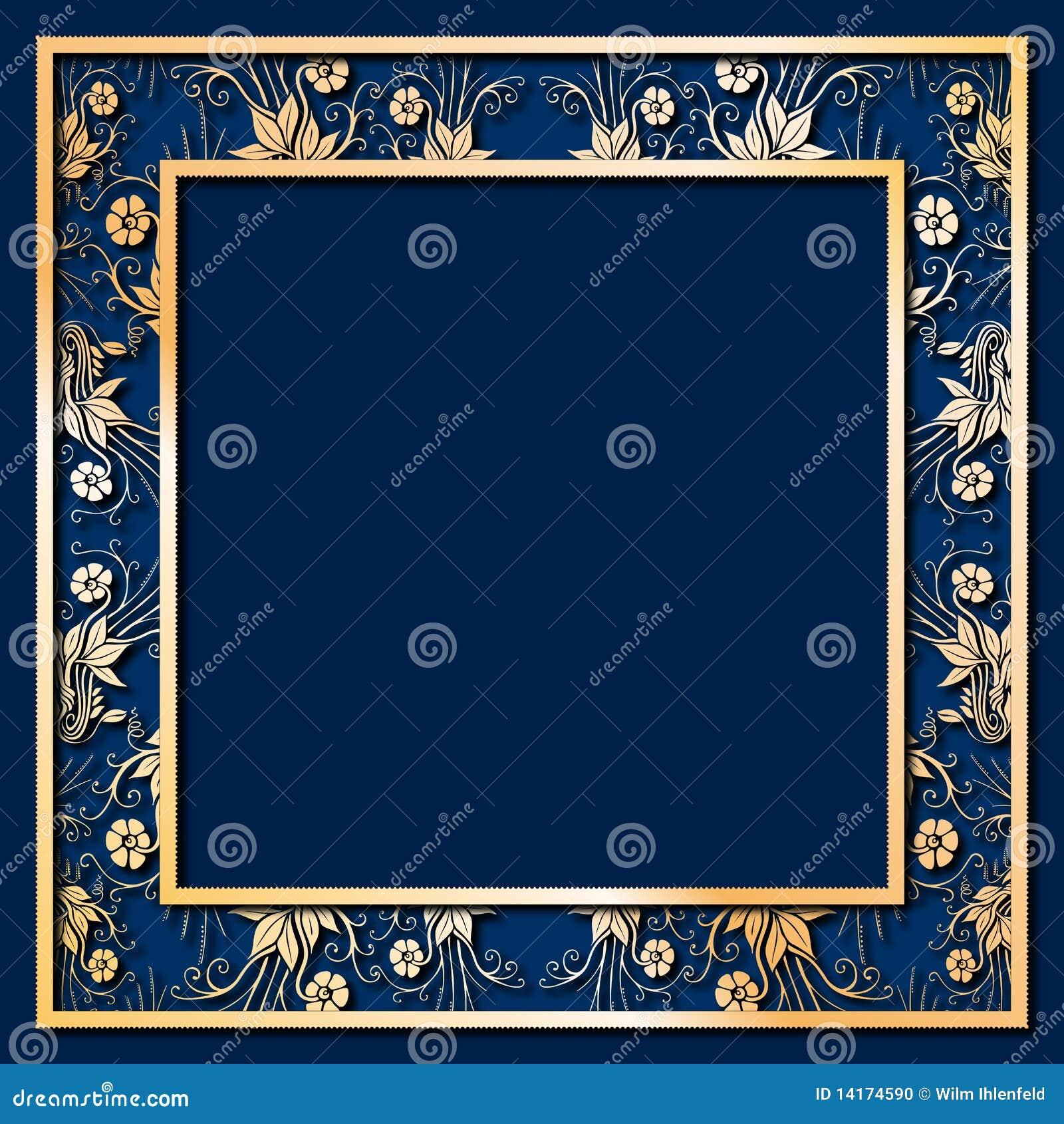 Złota kwiat błękitny rama