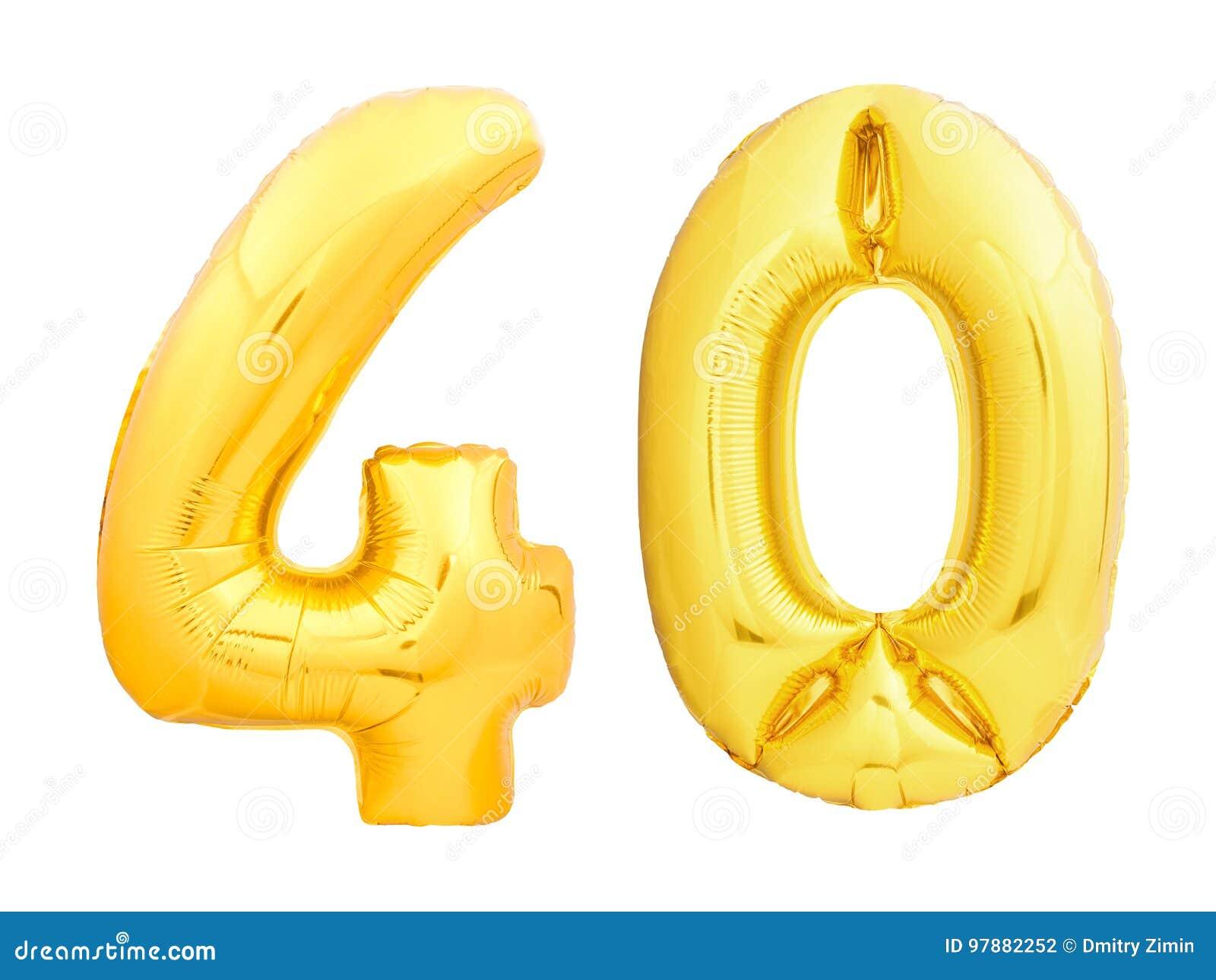 Złota liczba 40 czterdzieści zrobił nadmuchiwany balon