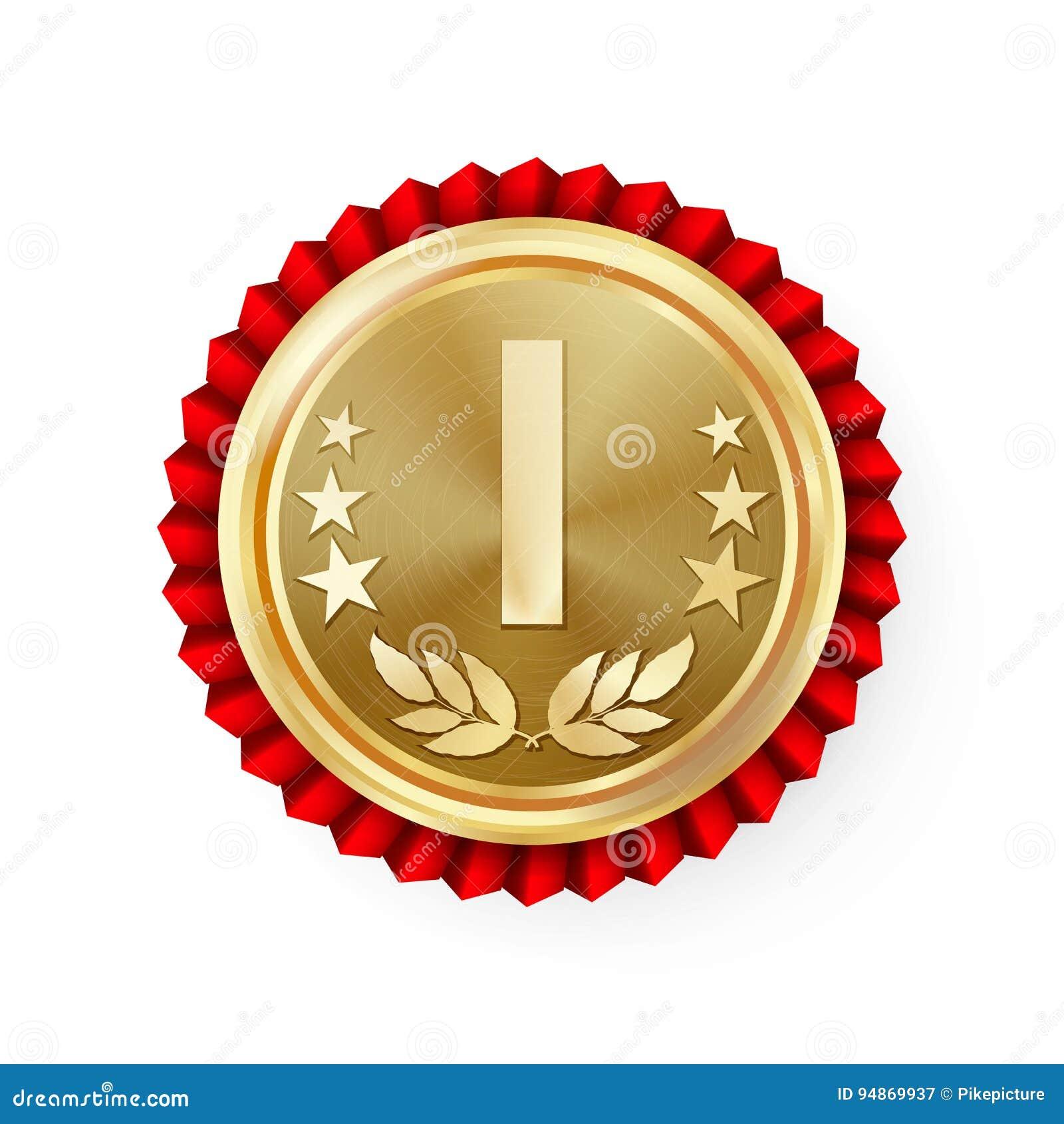 Złota miejsca 1st różyczka, odznaka, medalu wektor Realistyczny osiągnięcie Z Best Najpierw plasowaniem Round mistrzostwo etykiet