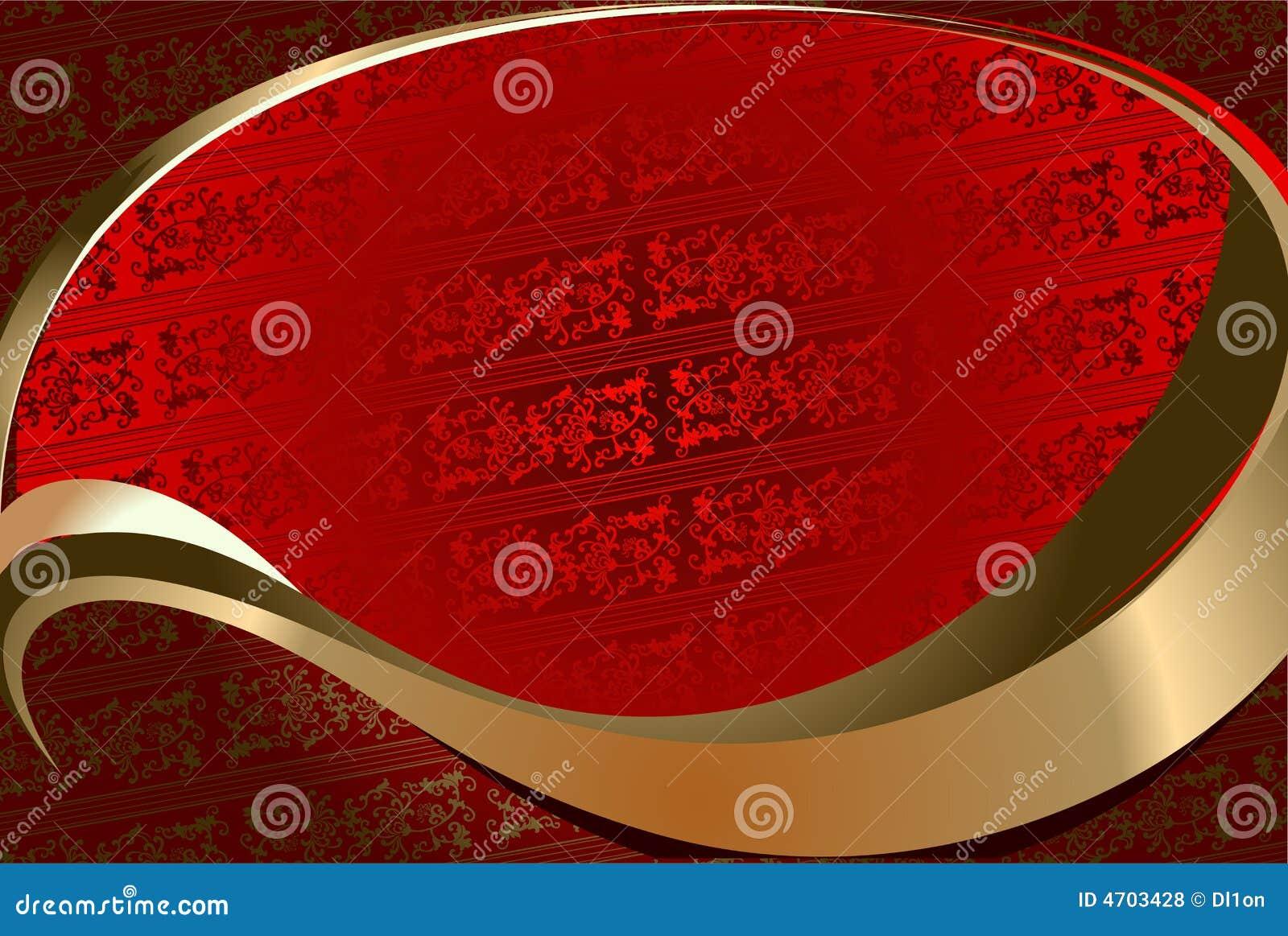 Złota ozdobna czerwone tło