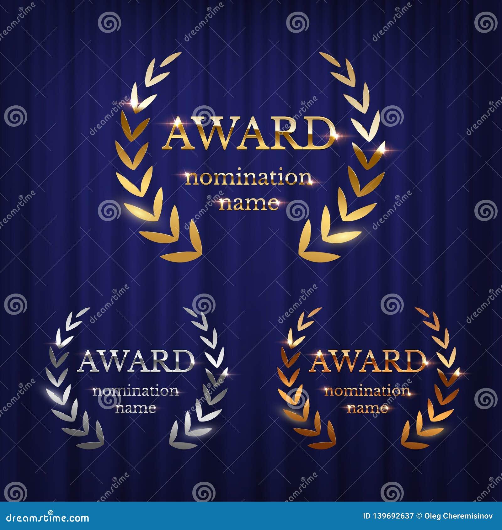 Złota, srebna i brązowa nagroda, podpisuje z laurowym wiankiem odizolowywającym na błękitnym zasłony tle Wektorowy nagroda projek