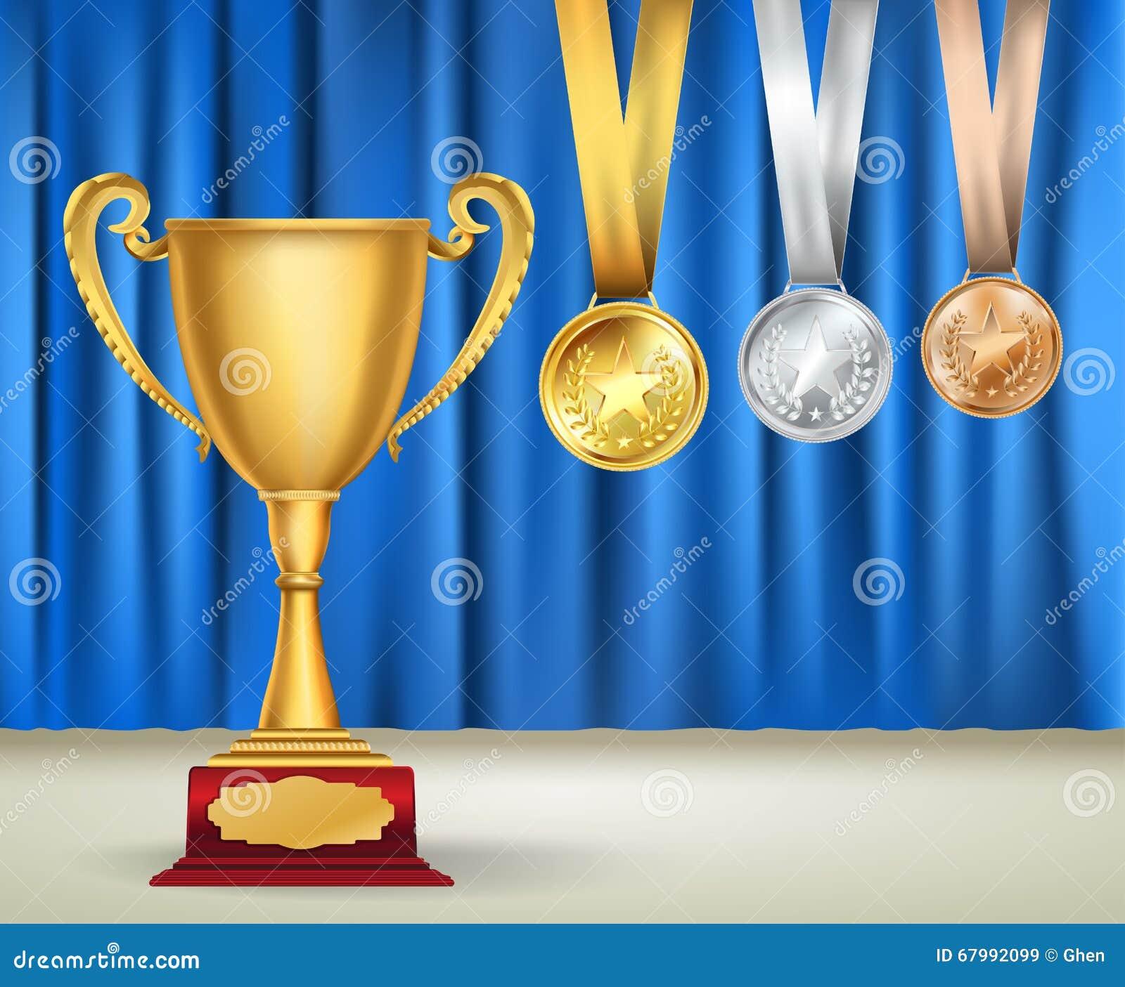 Złota trofeum filiżanka i set medale z faborkami na błękitnej zasłonie