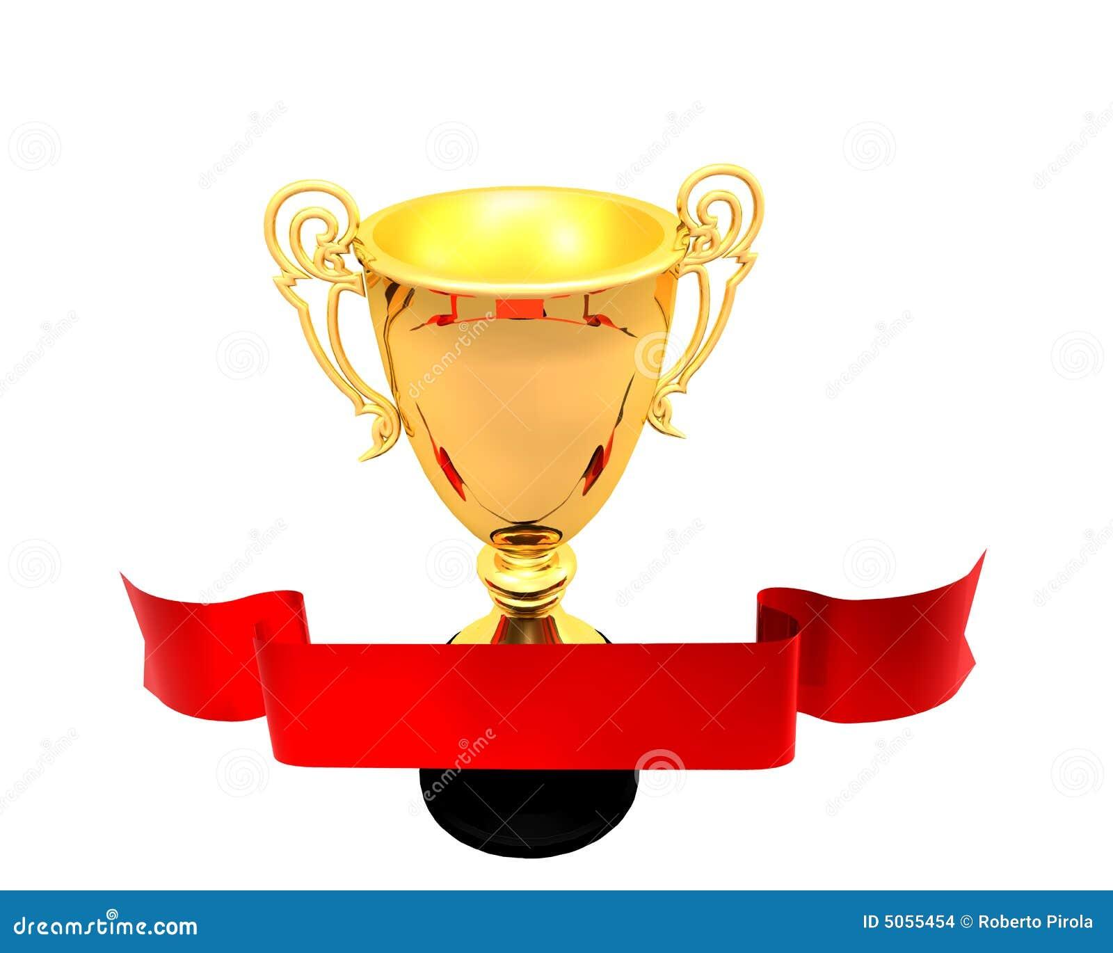Złote filiżanki czerwony tasiemkowy trofeum