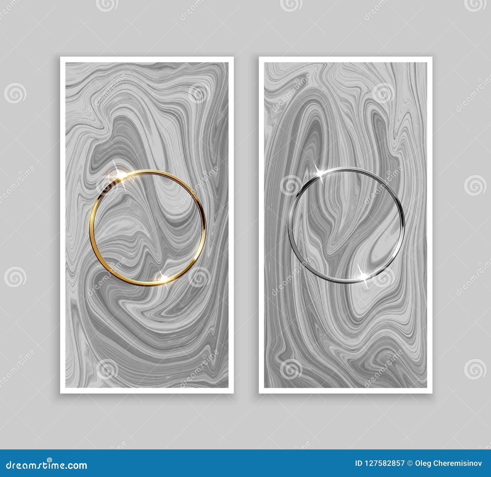 Złote i srebne ringowe ramy na szarości tle spokojnie redaguje projekt elementów wektora