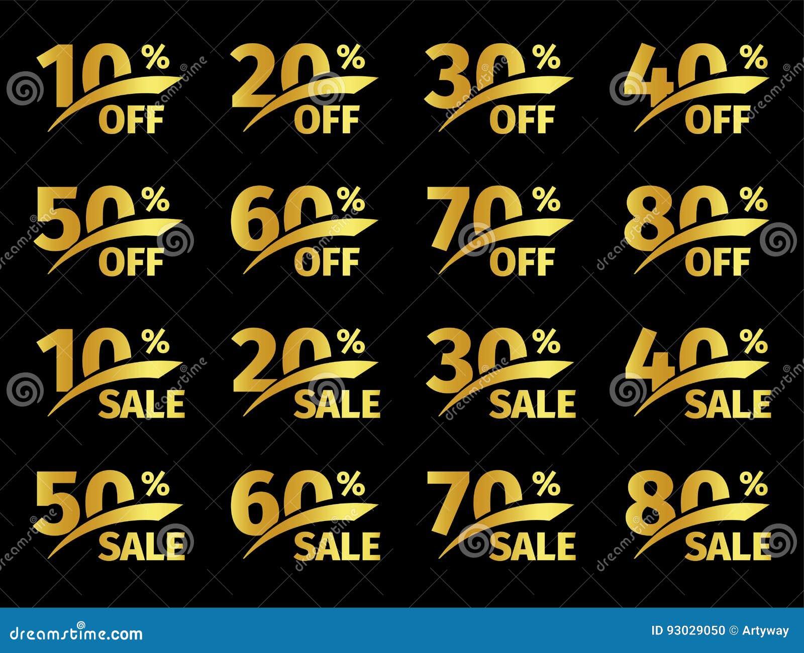 Złote liczby z odsetkiem na czarnym tle Promocyjna biznesowa oferta dla nabywc Liczba rabaty wewnątrz