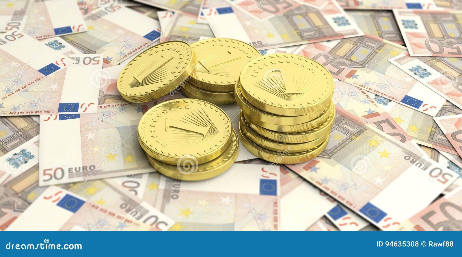 Złote monety na euro banknotu tle ilustracja 3 d