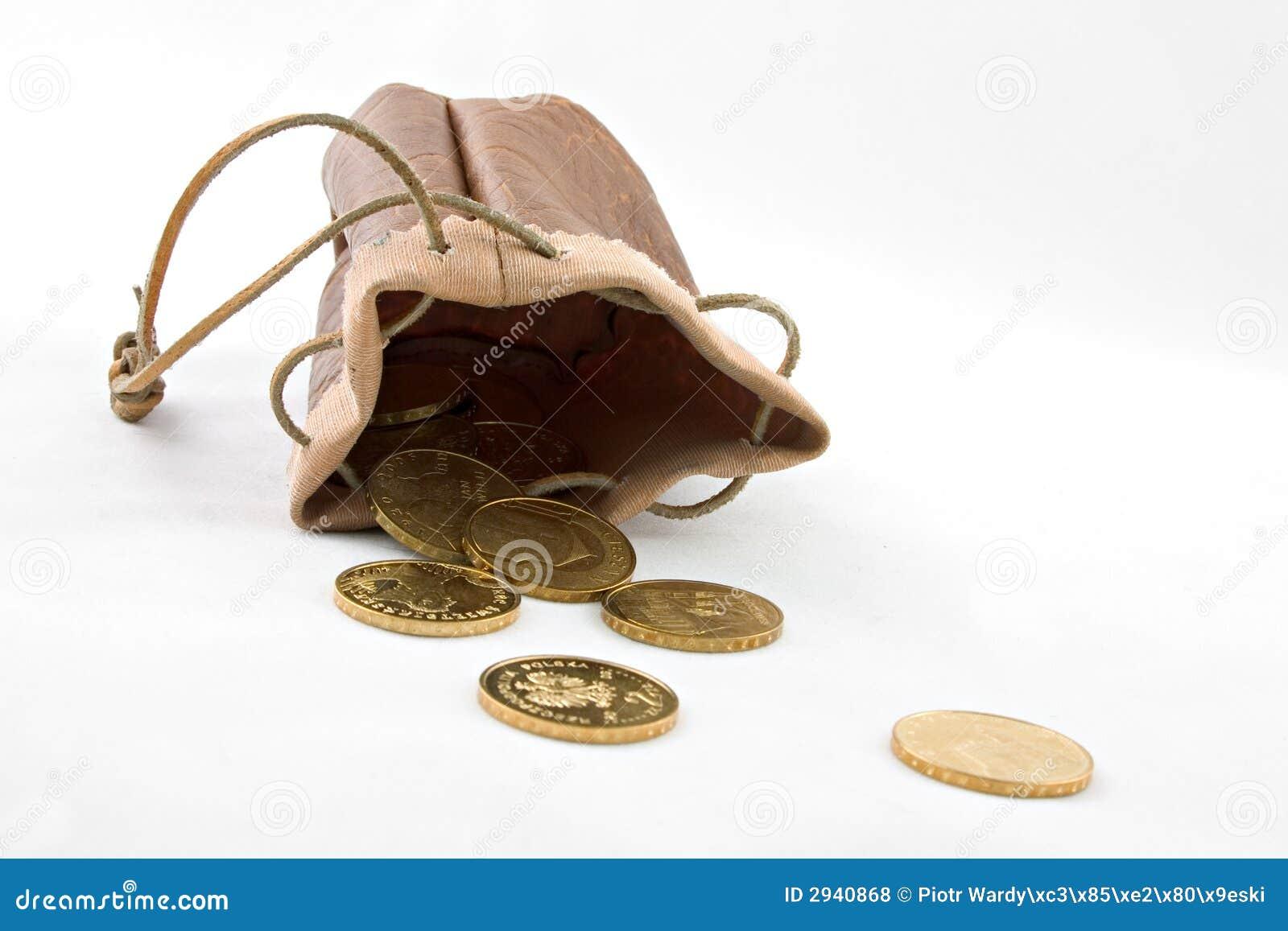 Złote monety sakiewka