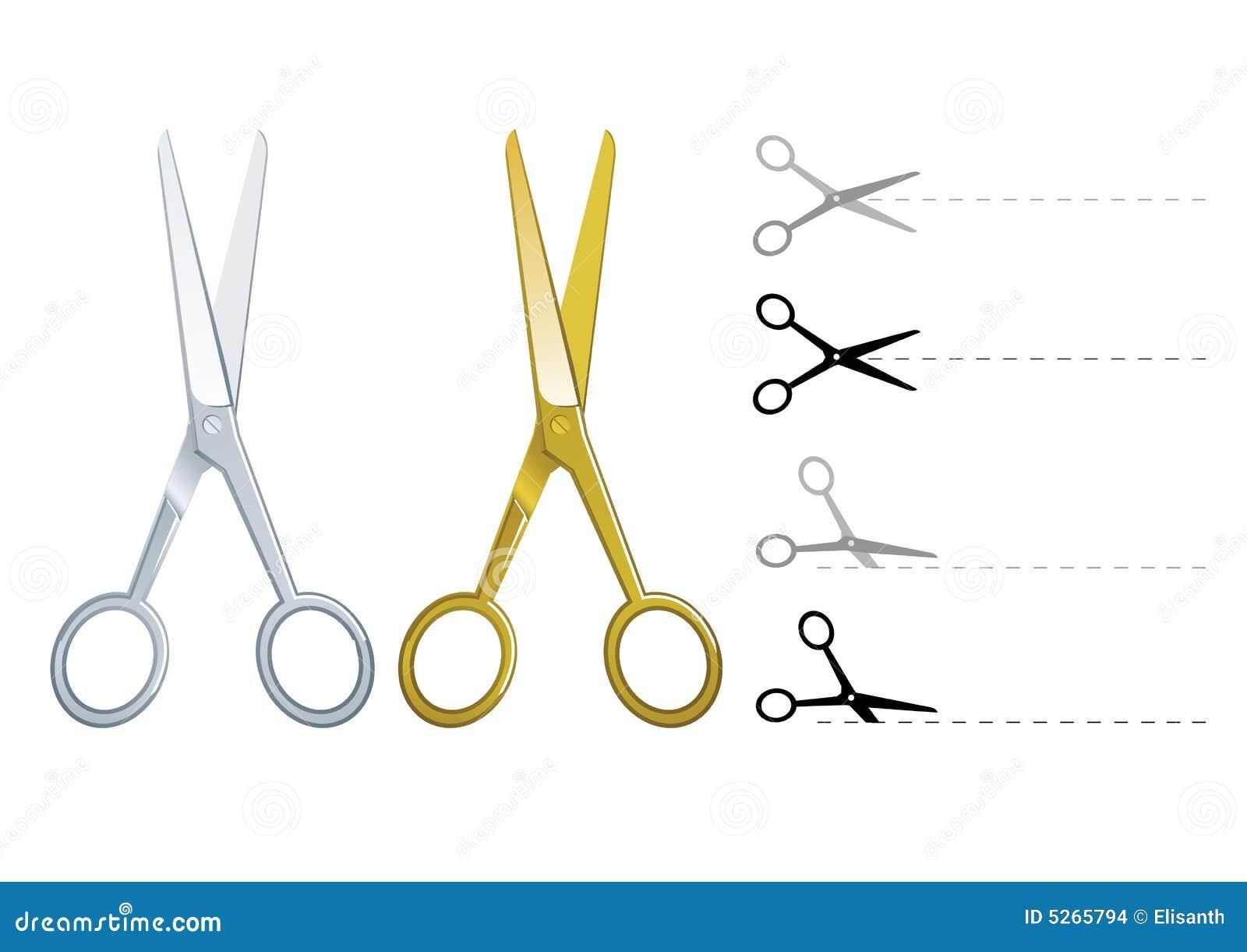 Złote nożyczki ustalić wektor srebra
