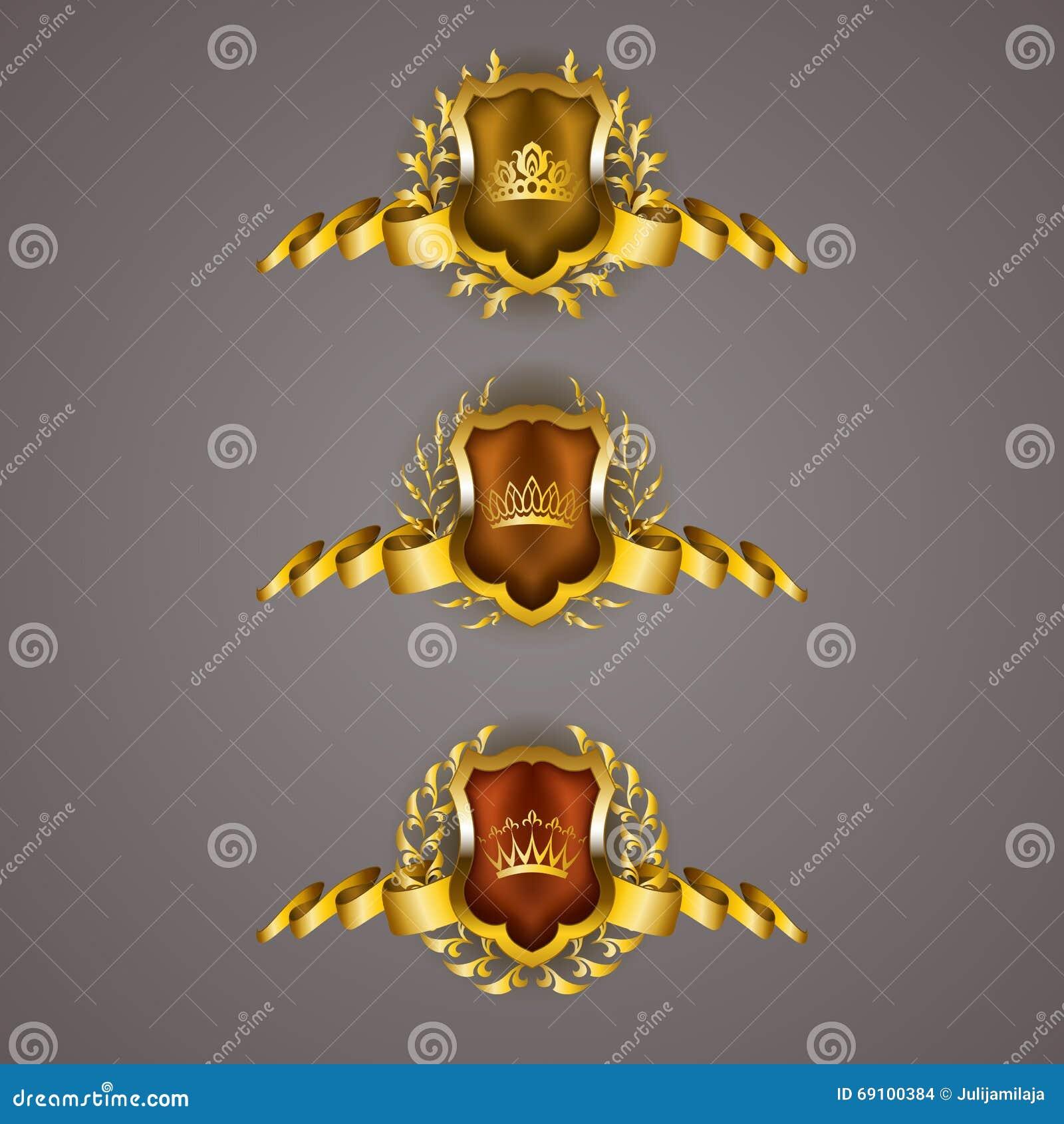 Złote osłony z laurowym wiankiem