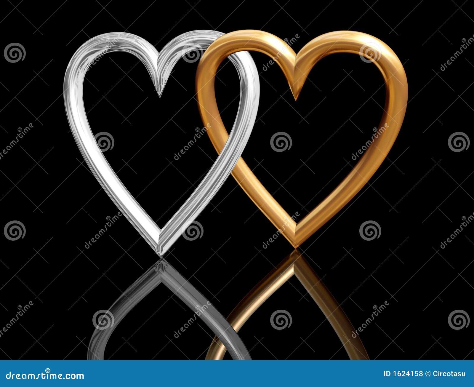 Złote serce przecinające walentynki