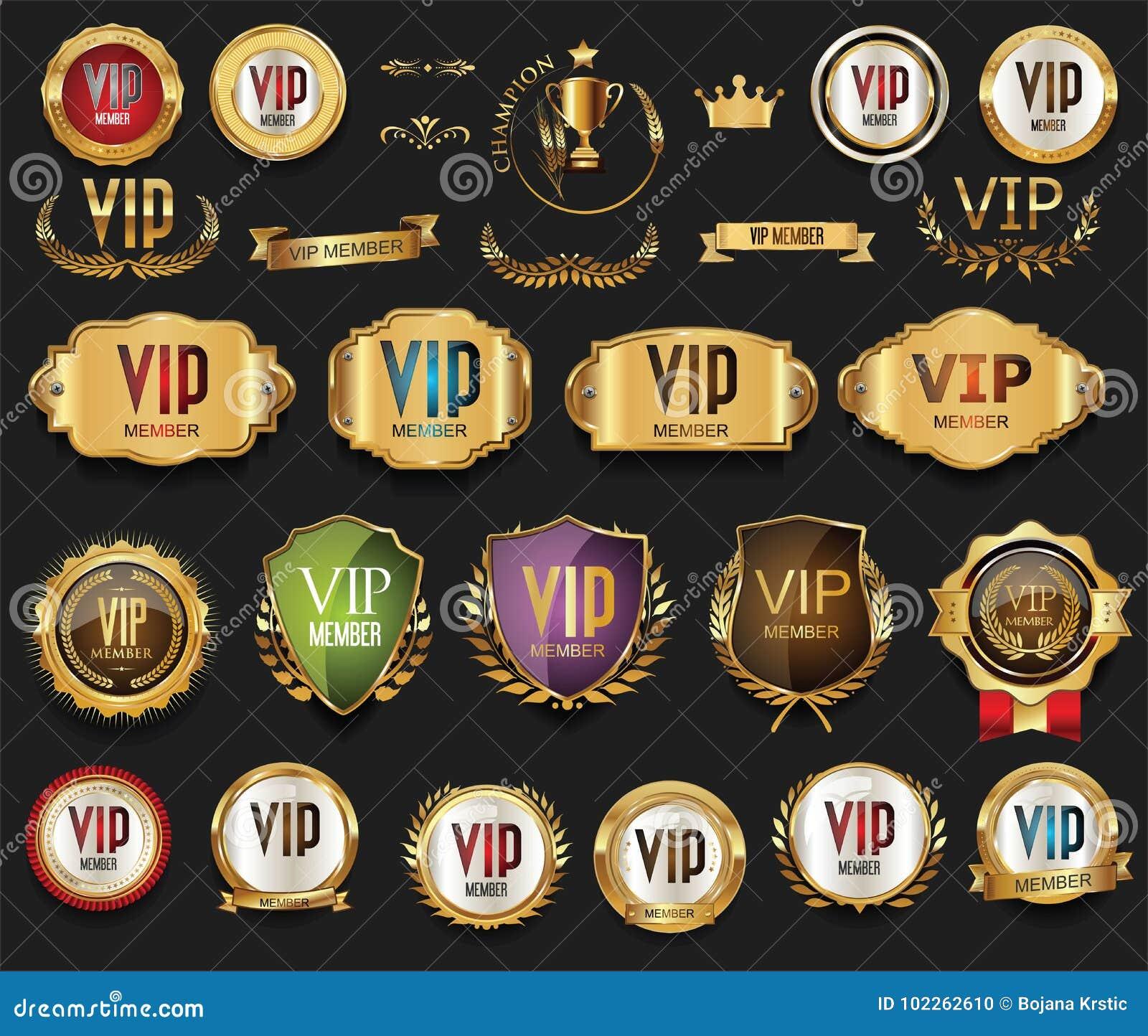 Złote VIP etykietki, odznaki inkasowi i