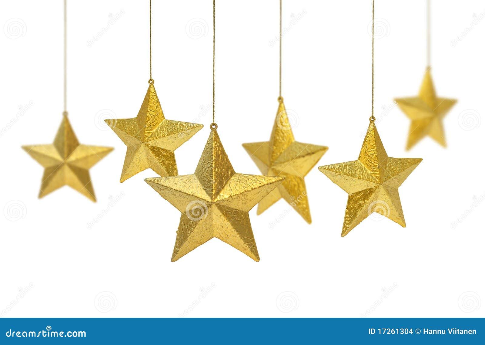 Złote wiszące gwiazdy