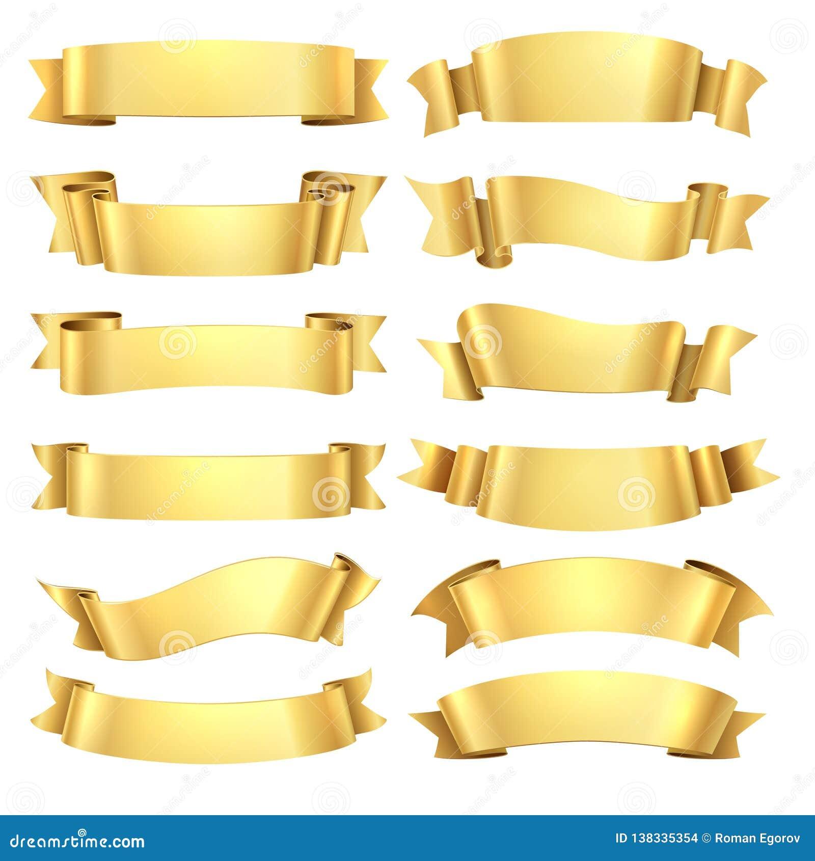 Złote wstążki Gratulacje sztandaru element, żółtego prezenta dekoracyjny kształt, złocista reklamowa ślimacznica Wektor realistyc