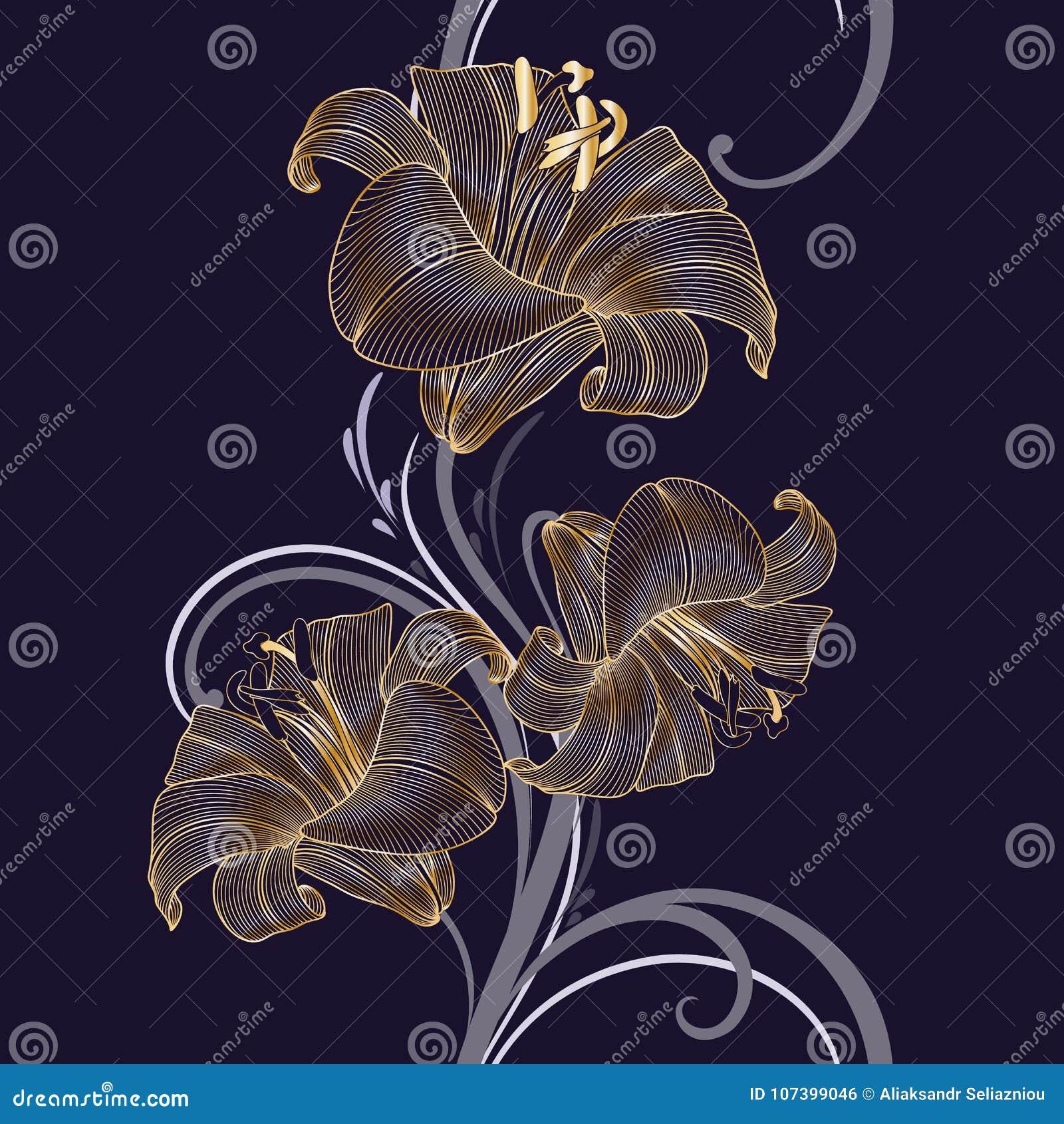 Złotego bezszwowego rysunku kwiecisty tło z kwiat lelują