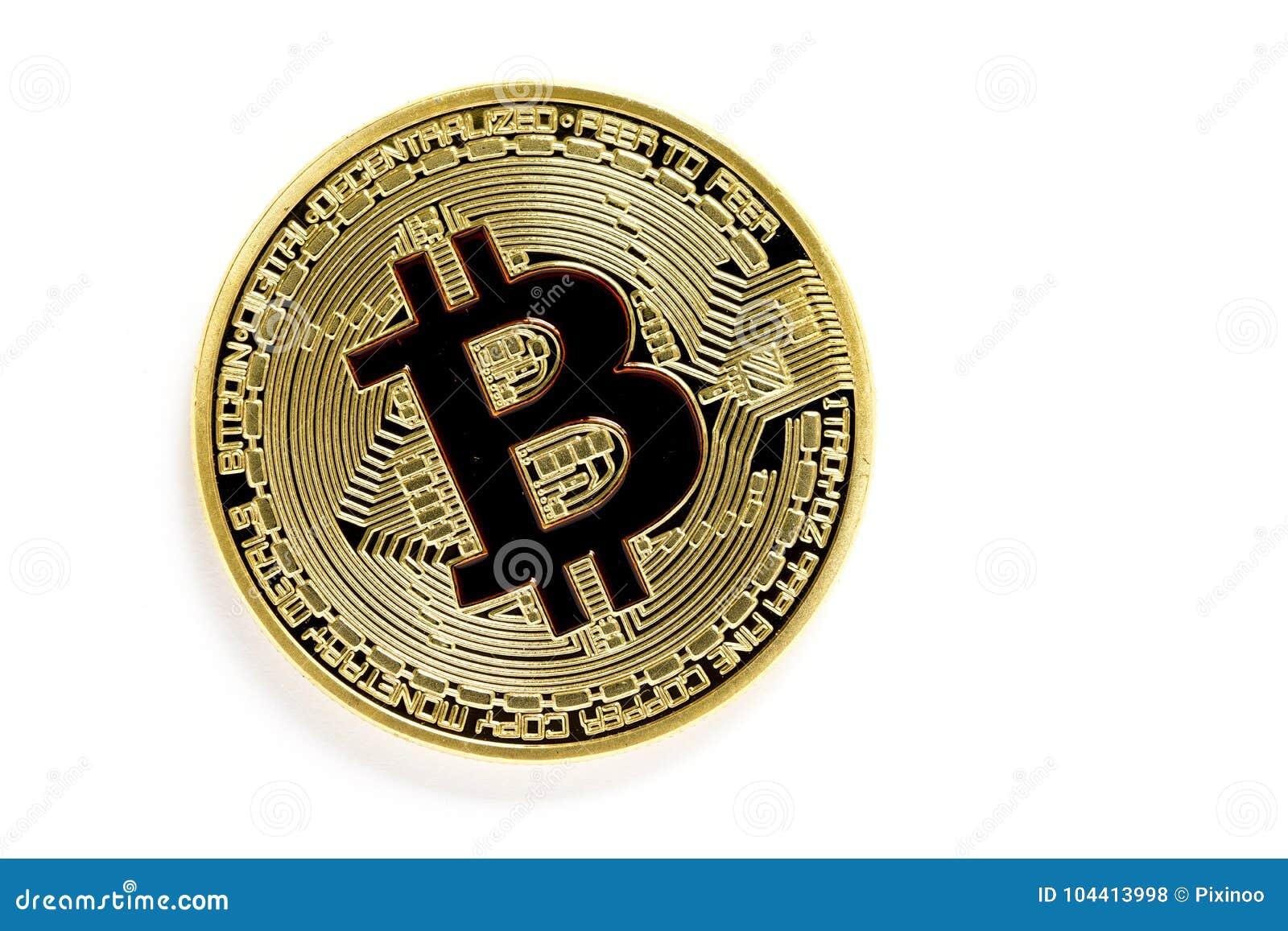 Złotego bitcoin wirtualne monety odizolowywać na białym tle