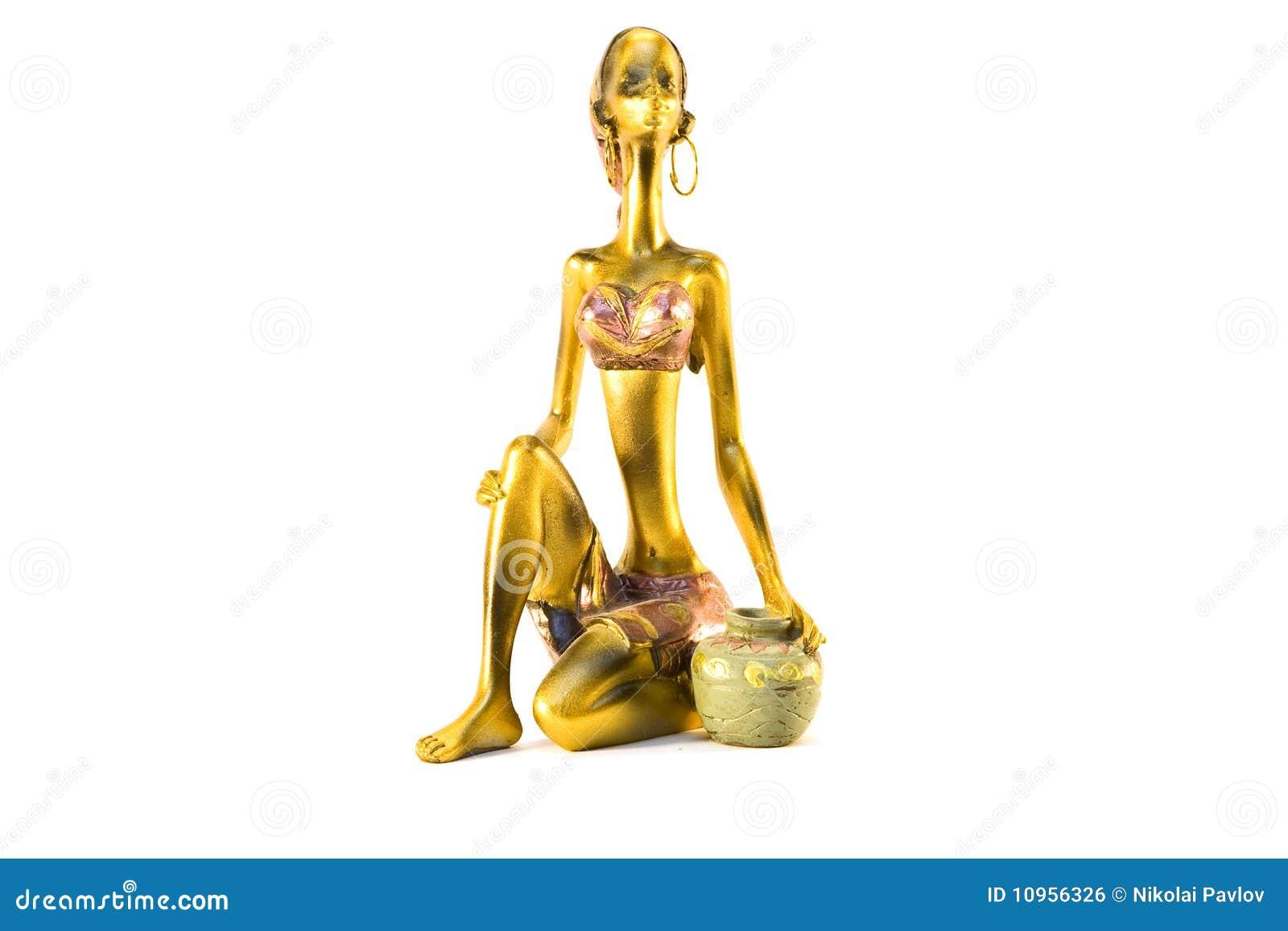 Złotego hindusa odosobniona dzbanka posążka kobieta