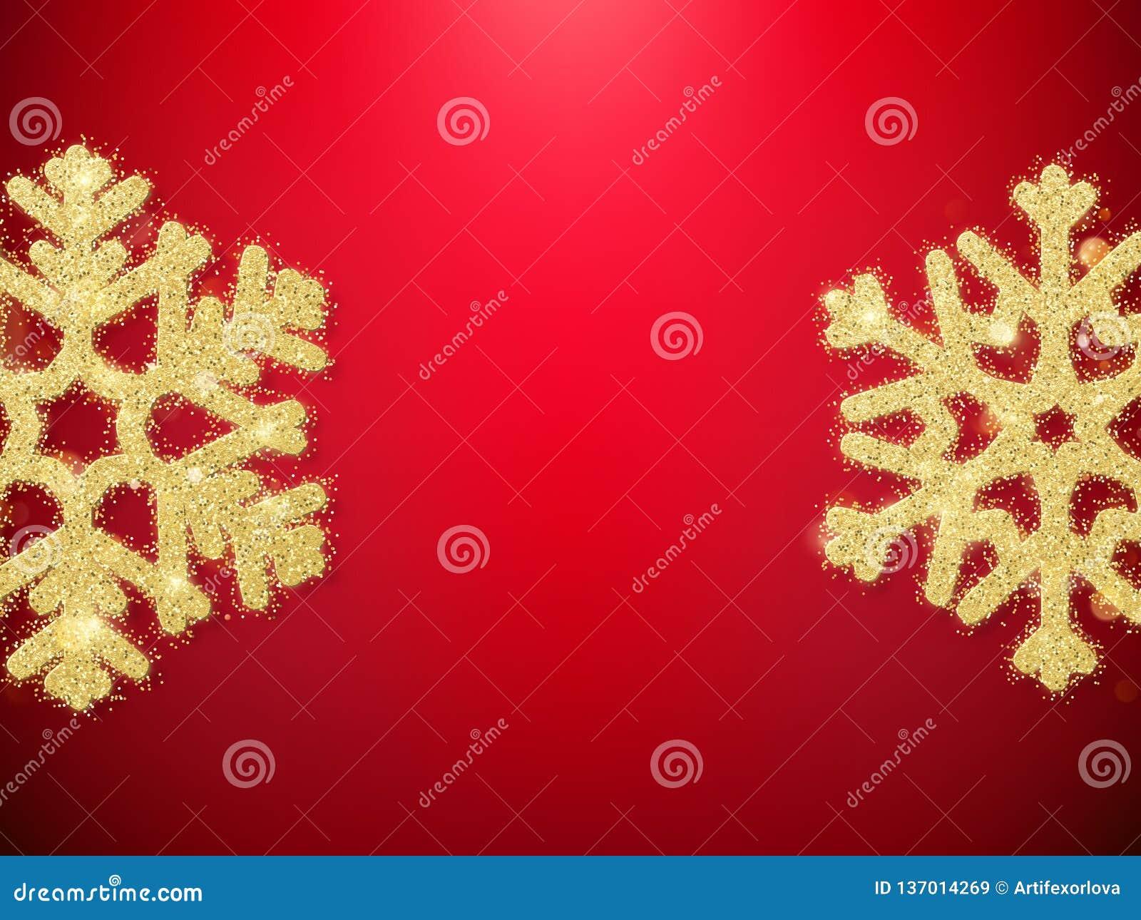 Złotej błyskotliwości dekoracji przedmiota Bożenarodzeniowi płatek śniegu dla kartek z pozdrowieniami, zaproszenia, prezenty na c