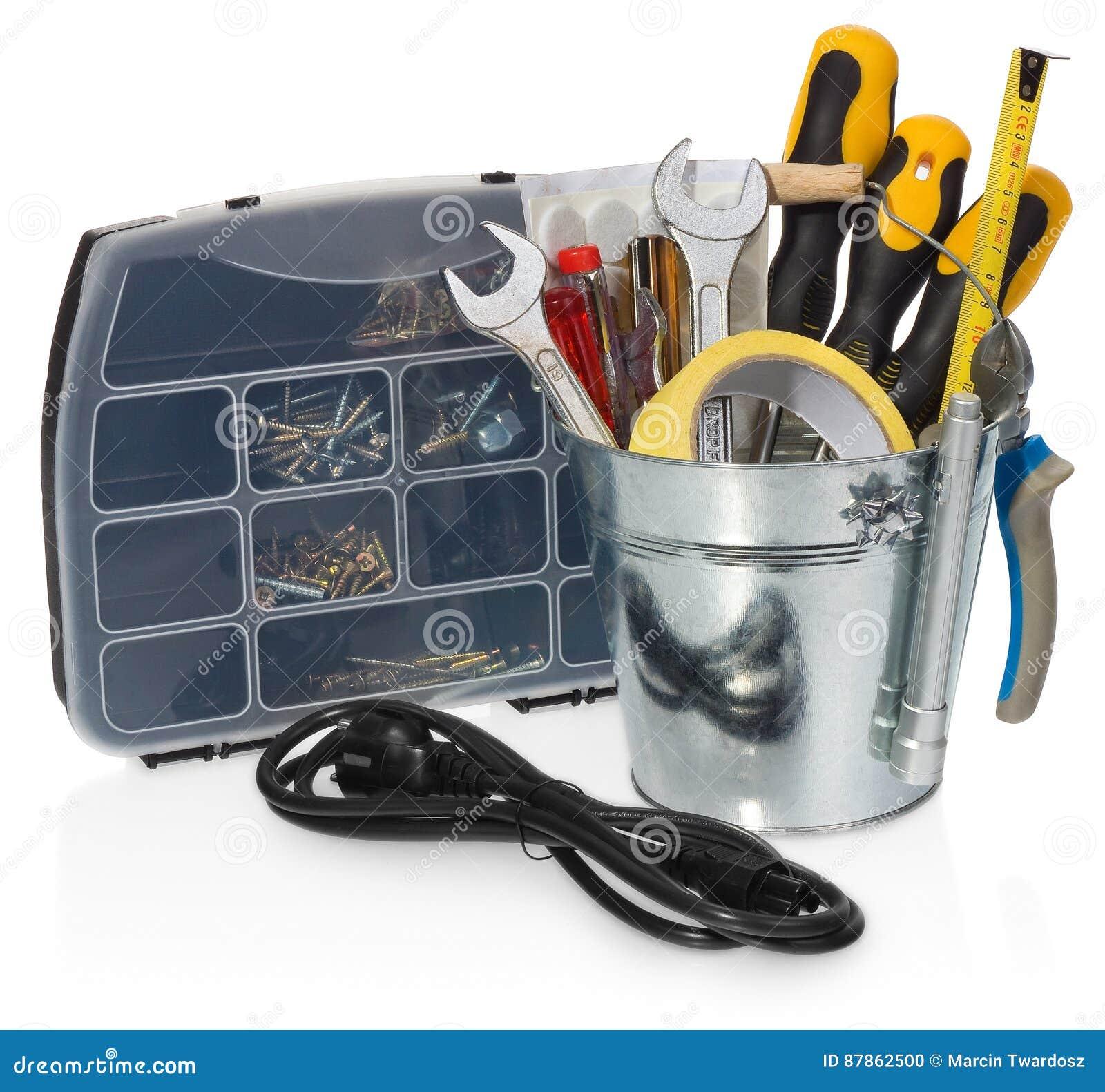 Złotej rączki narzędzie ustawiający: śrubokręty, wyrwania, taśma, cążki, measuri