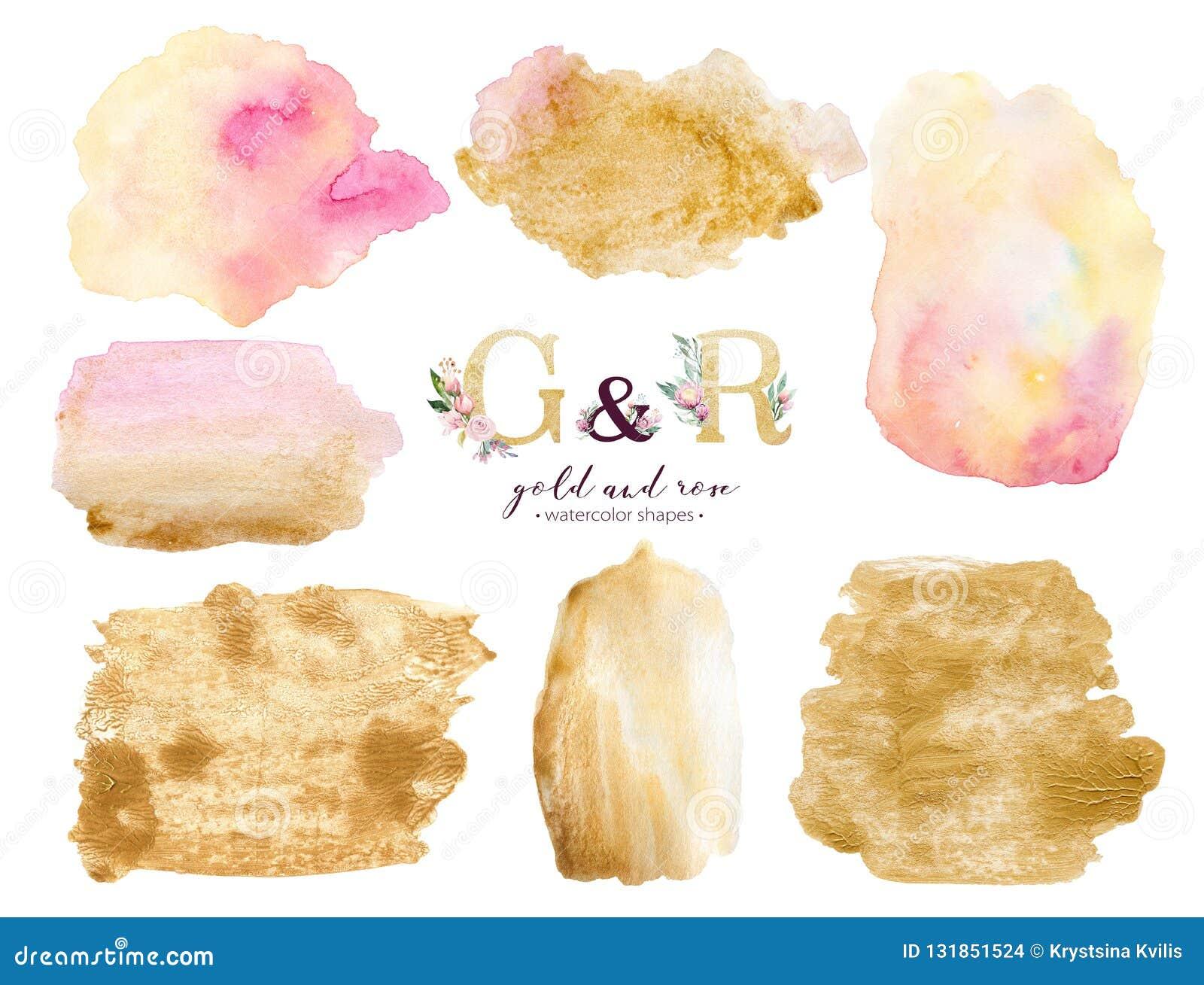 Złoto i różany akwareli akrylowej farby tło kształtujemy Abstrakcjonistyczna złota sztuki muśnięcia atramentu farba na bielu Deko