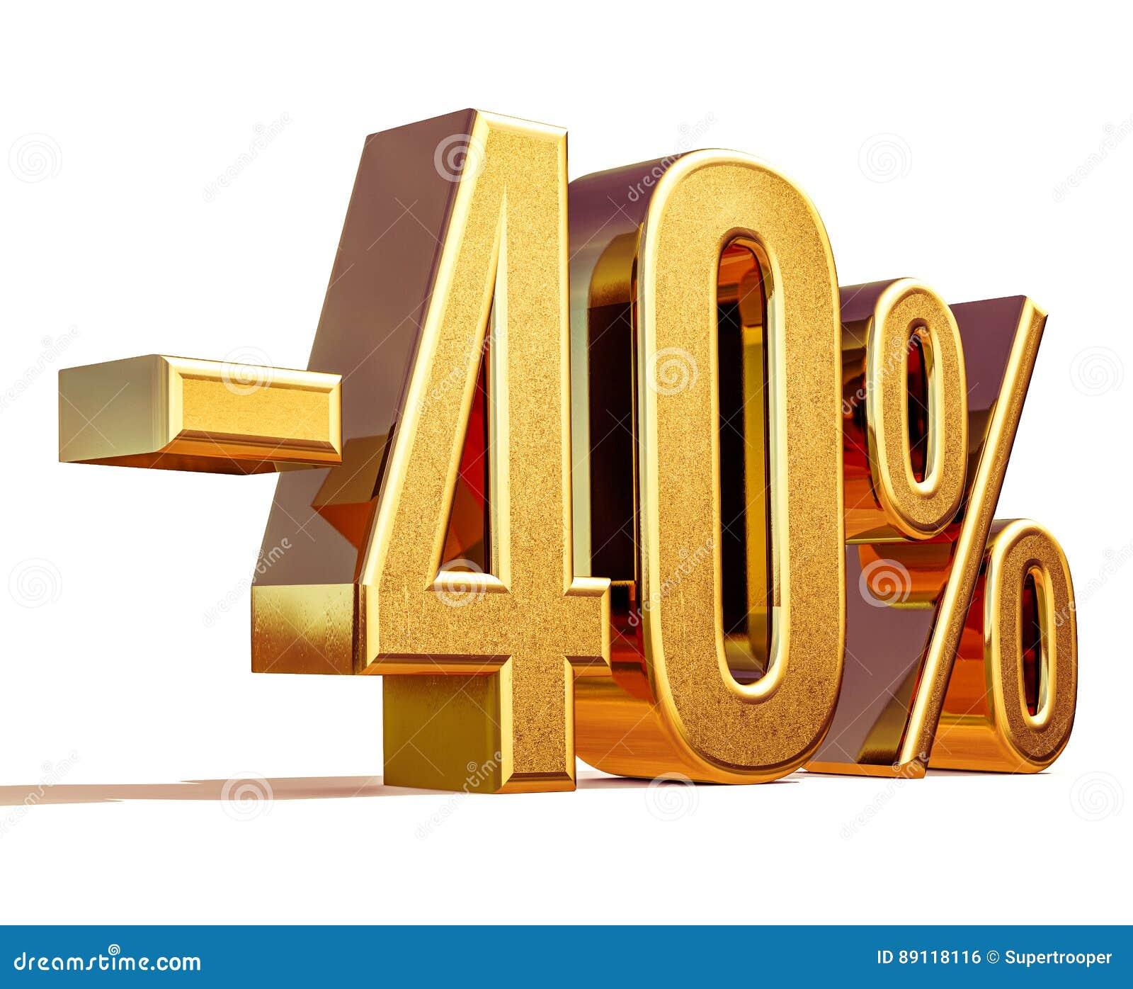 Złoto -40  Minus Czterdzieści procentów rabata znak,