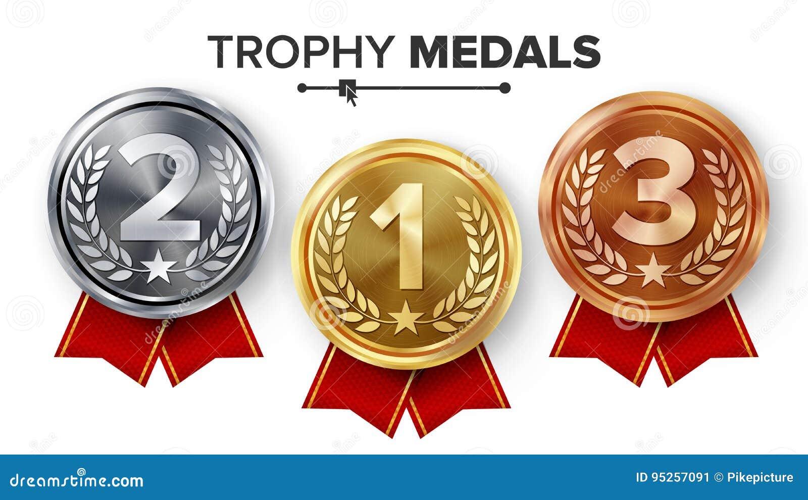Złoto, srebro, brązowi medale Ustawia wektor Metal Realistyczna odznaka Z Najpierw, Drugi, Trzeci plasowania osiągnięcie _