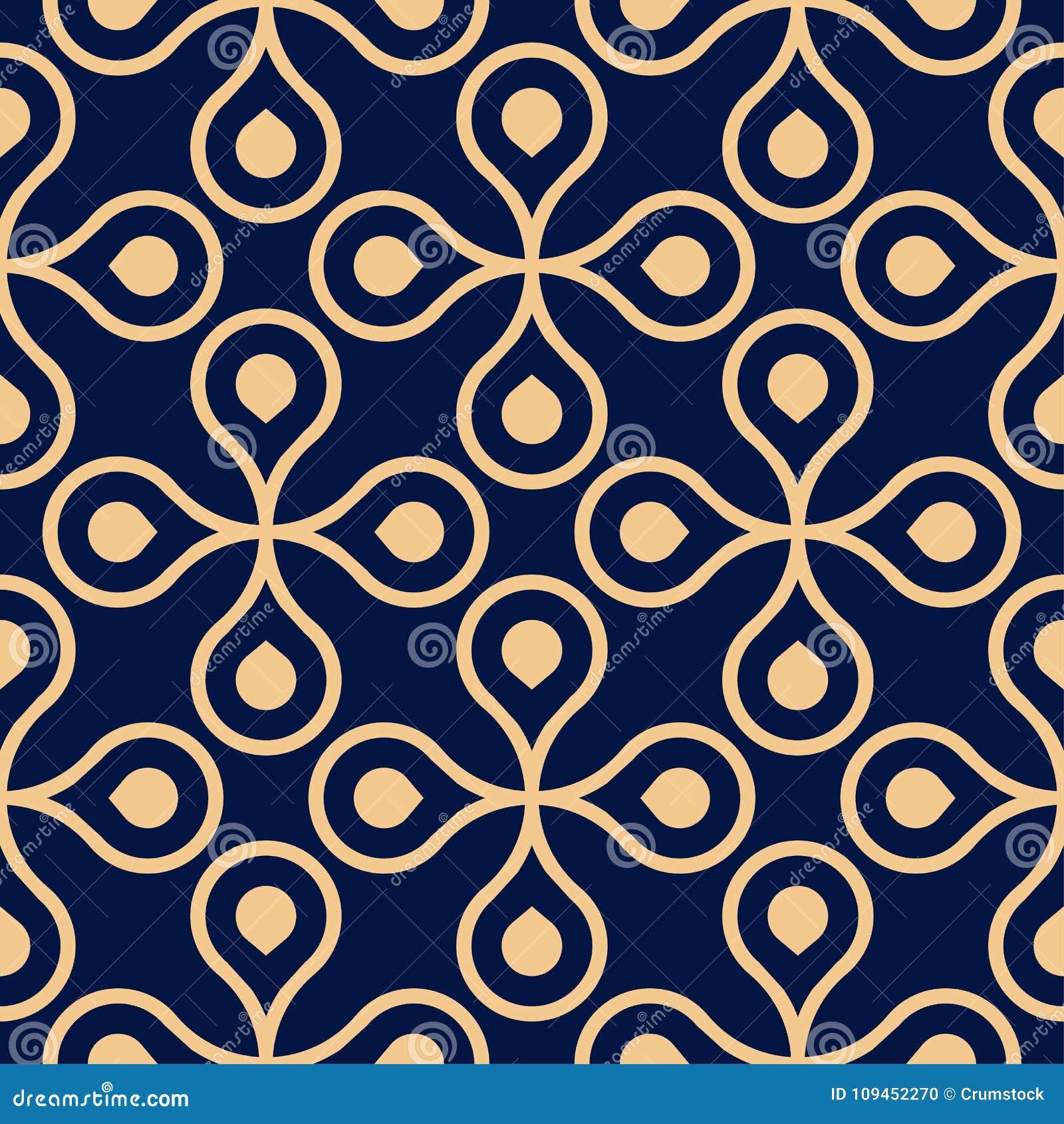 Złoty błękitny geometryczny ornament bezszwowy wzoru