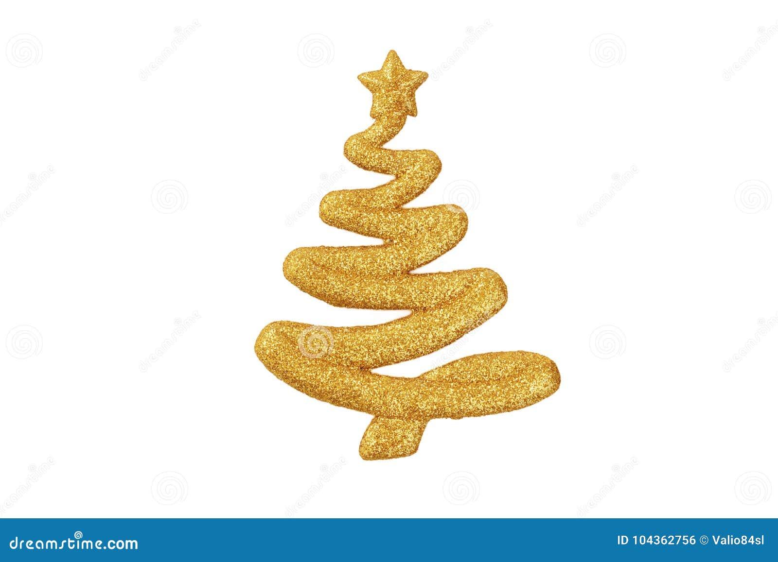Złoty błyskotliwy kształt choinka ornament odizolowywający dalej
