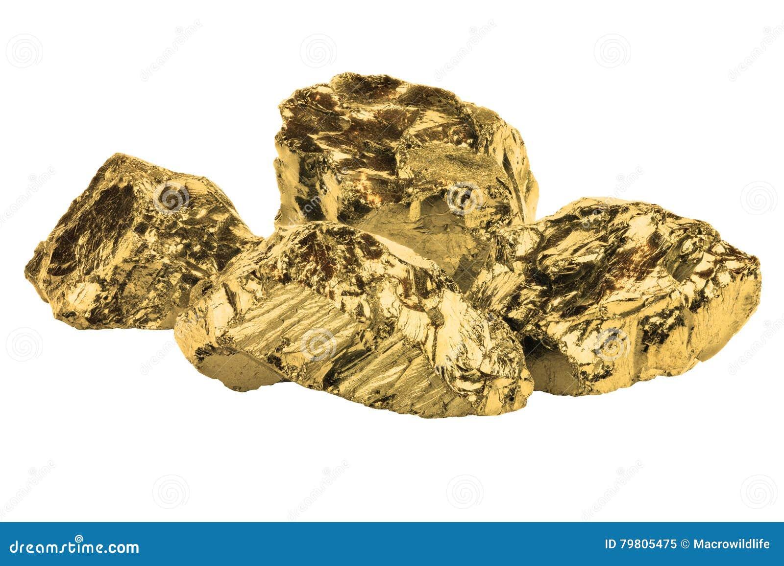 Złoty bryłki zamknięty up odizolowywający na bielu
