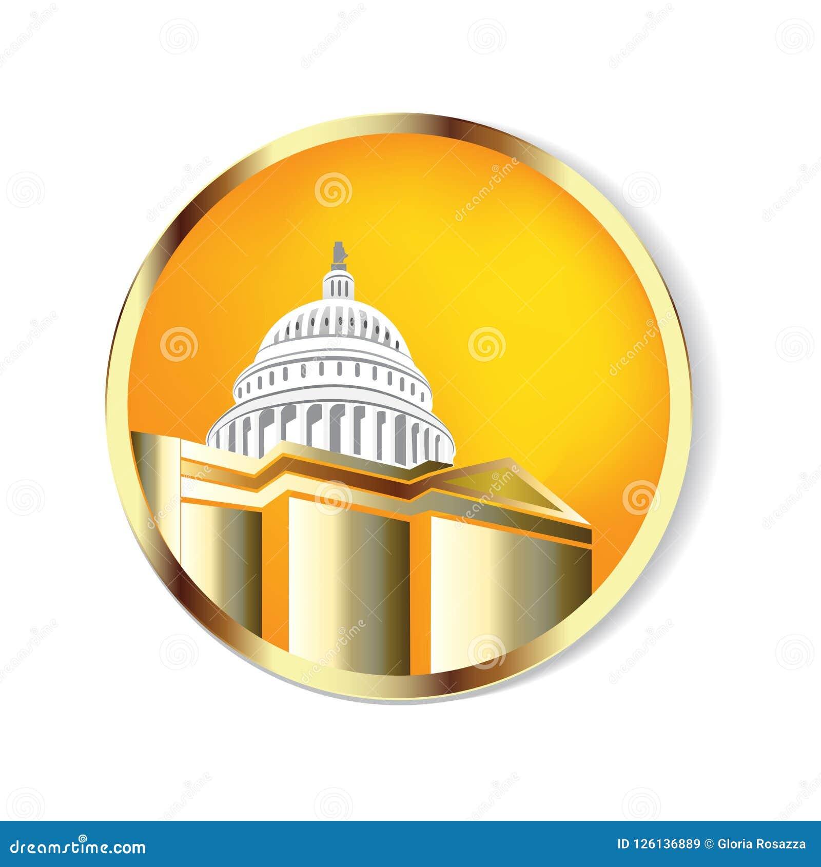 Złoty Cupola budynku loga wektor Capitol budynku loga ikony wektorowy tło