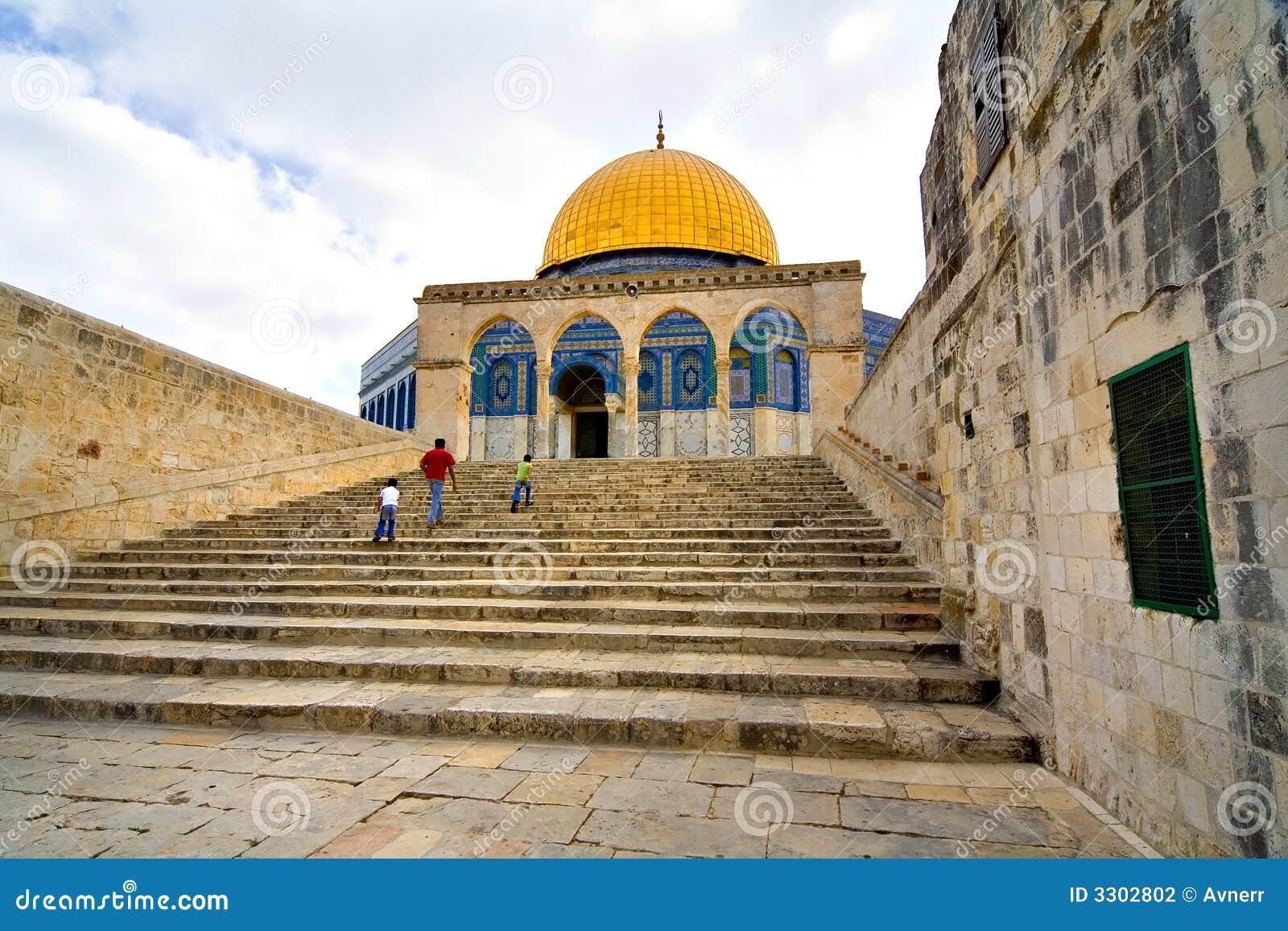 Złoty Jerusalem meczet kopuły