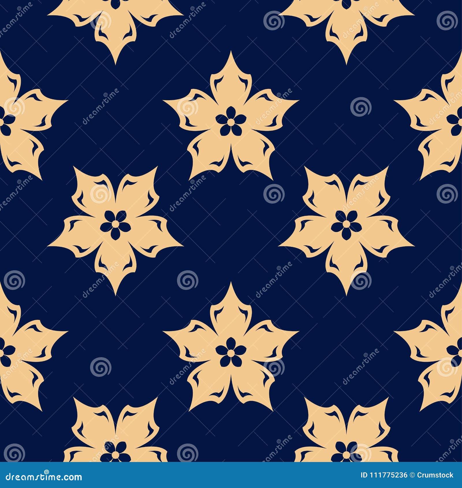 Złoty kwiecisty element na zmroku - błękitny tło bezszwowy wzoru