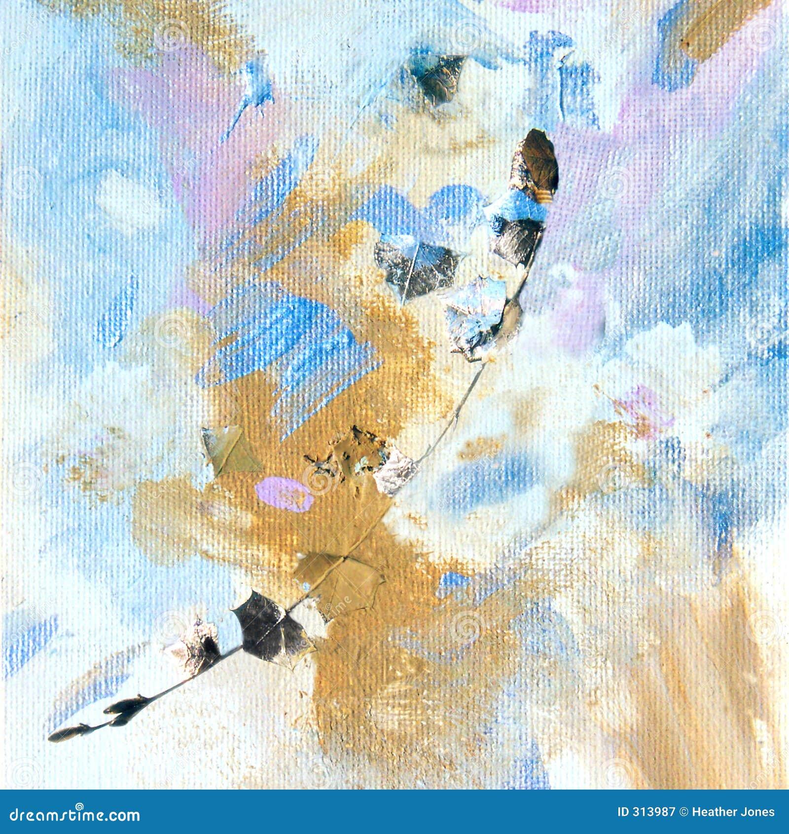 Złoty liść obrazu gałązka