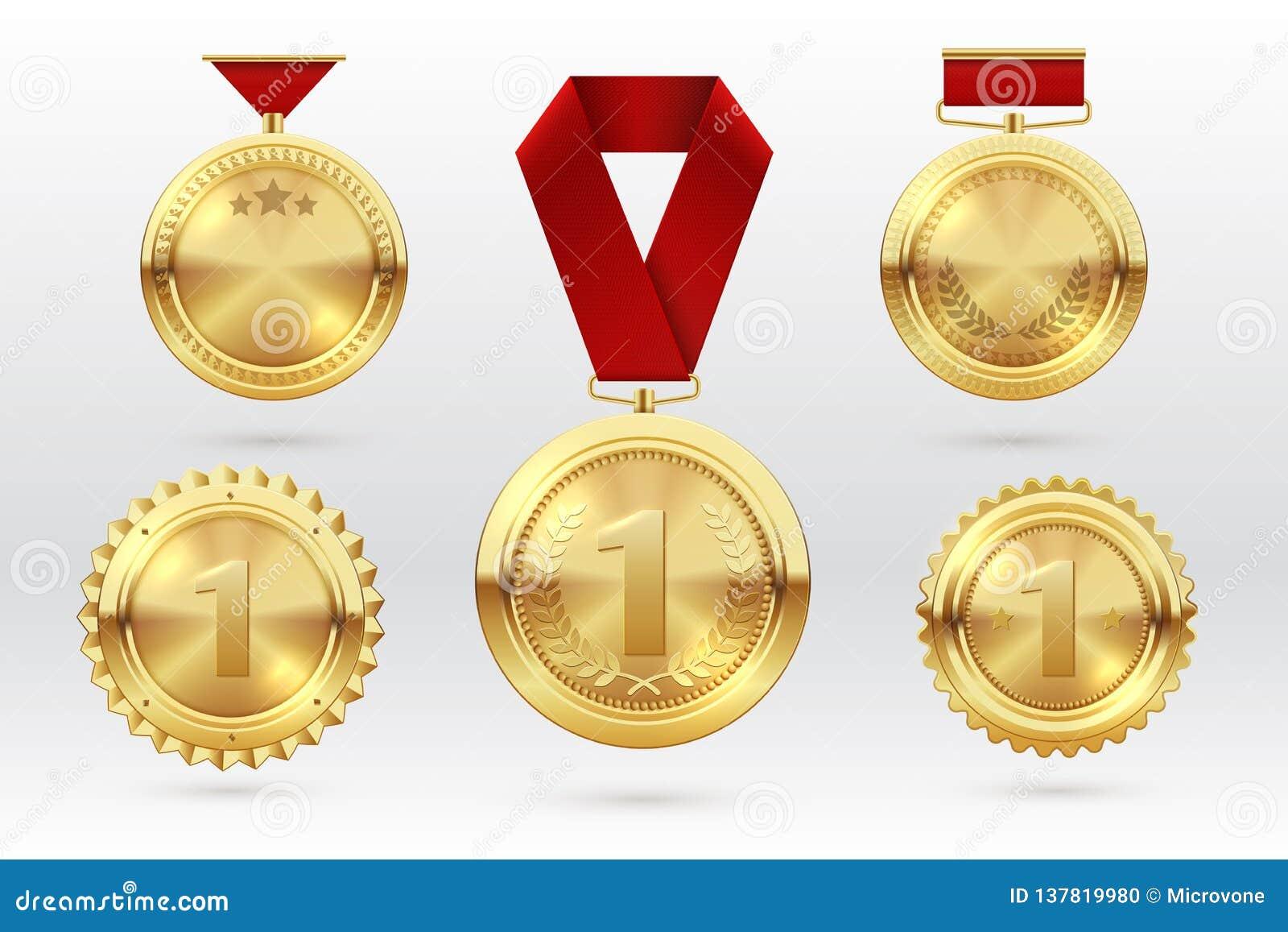 Złoty medal Liczy 1 złoci medale z czerwonymi nagroda faborkami Pierwszy plasowanie zwycięzcy trofeum nagroda kreskówki serc bieg
