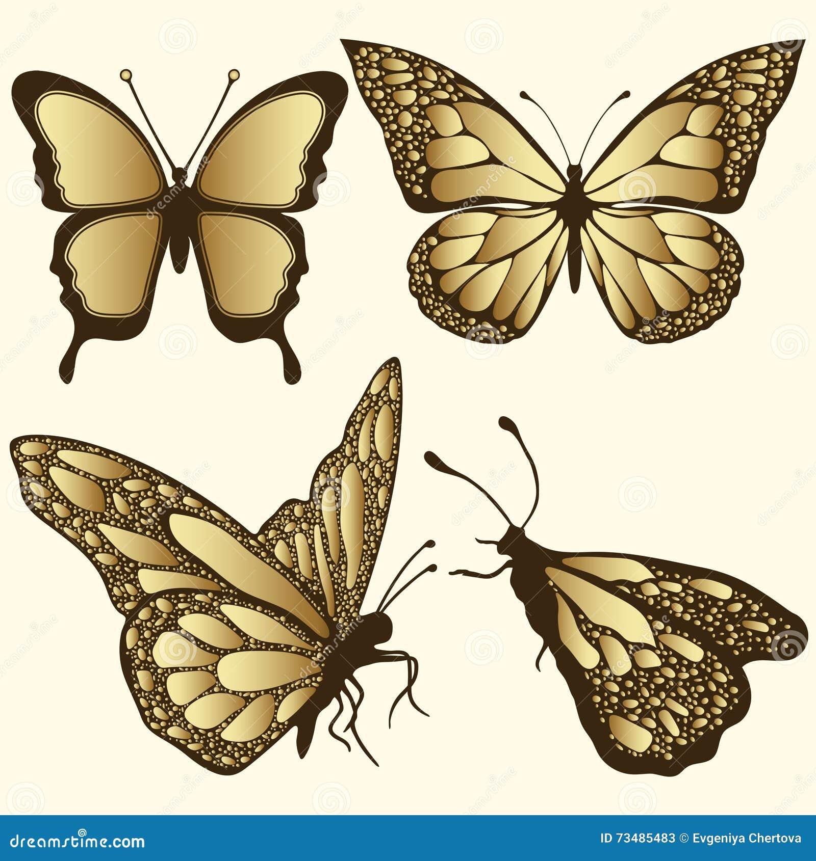 Złoty motyla set Luksusowy projekt, droga biżuteria, broszka Egzotyczny wzorzysty insekt, tatuaż, dekoracyjny element Wektorowy I