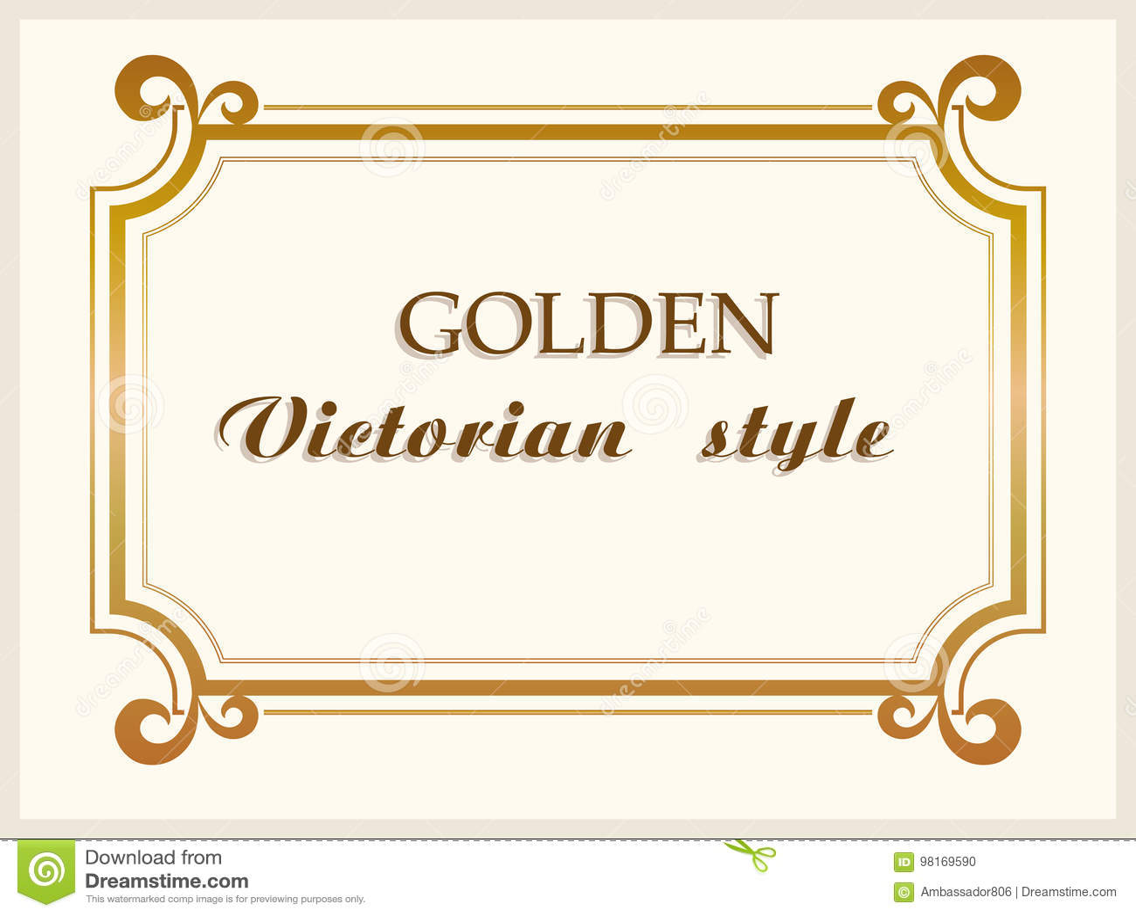 Złoty ramowy luksusowy wiktoriański styl, kwiecista rabatowa dekoracja wektor