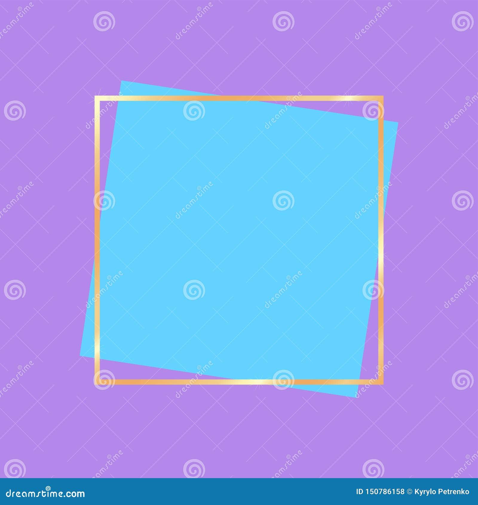 Złoty ramowy sztandar dla reklama jaskrawych kolorów
