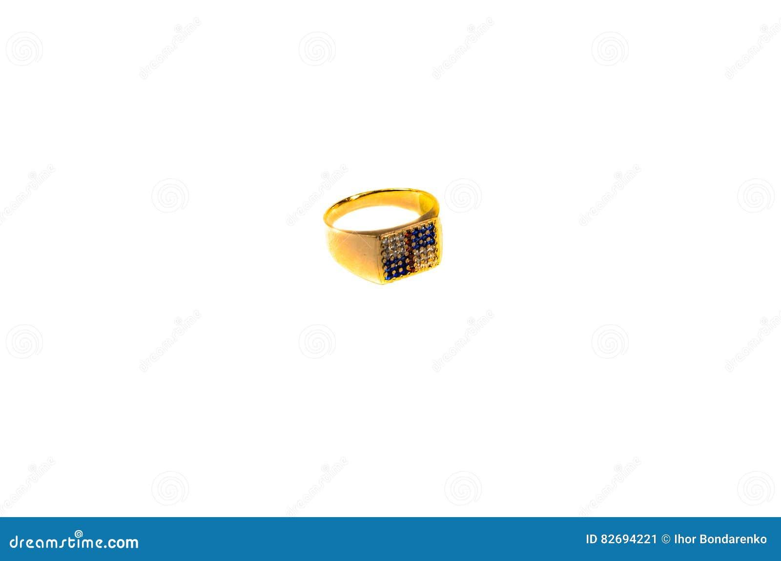 Złoty signet pierścionek z klejnotami