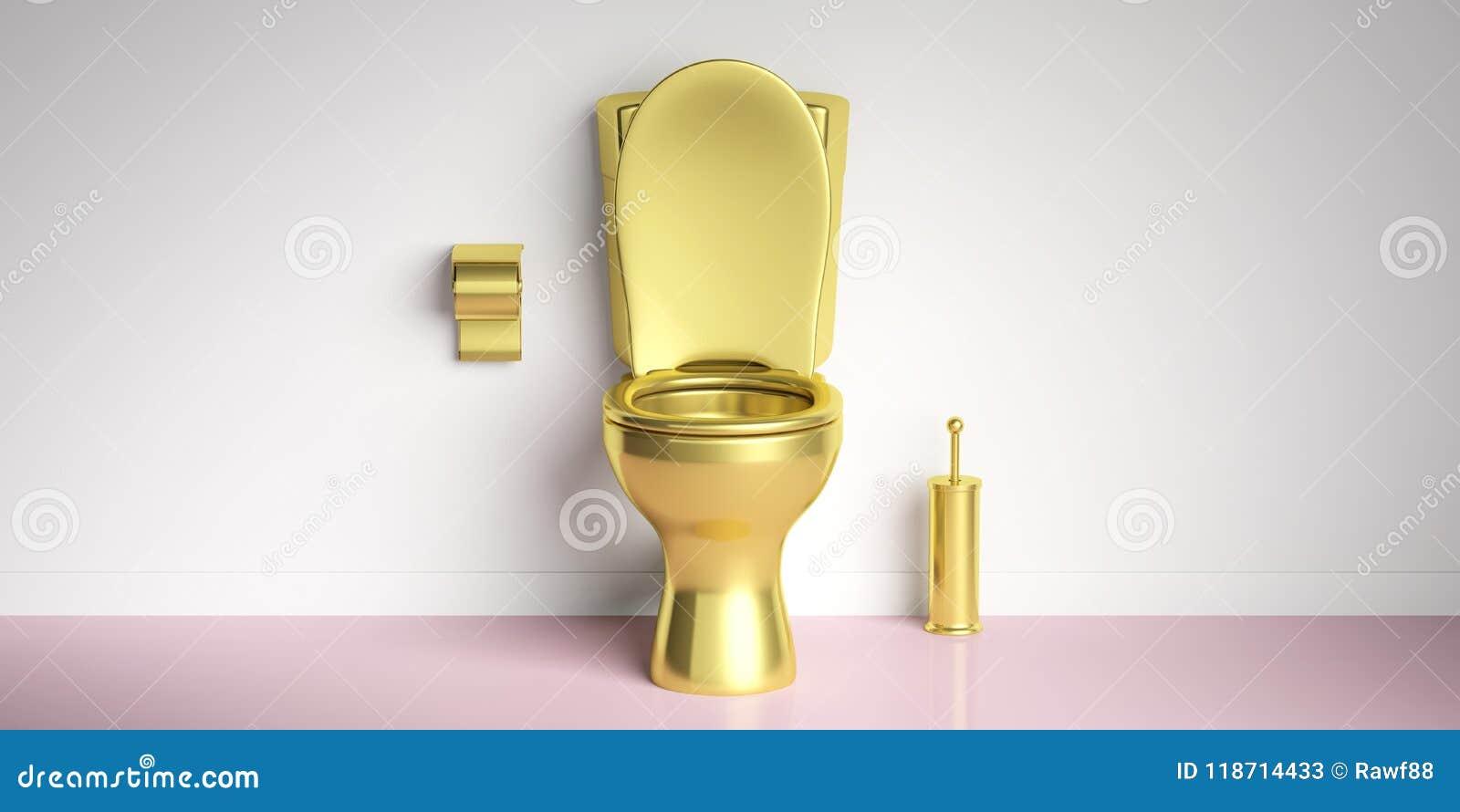 Złoty toaletowy puchar na różowej podłoga, bielu ścienny tło, kopii przestrzeń ilustracja 3 d