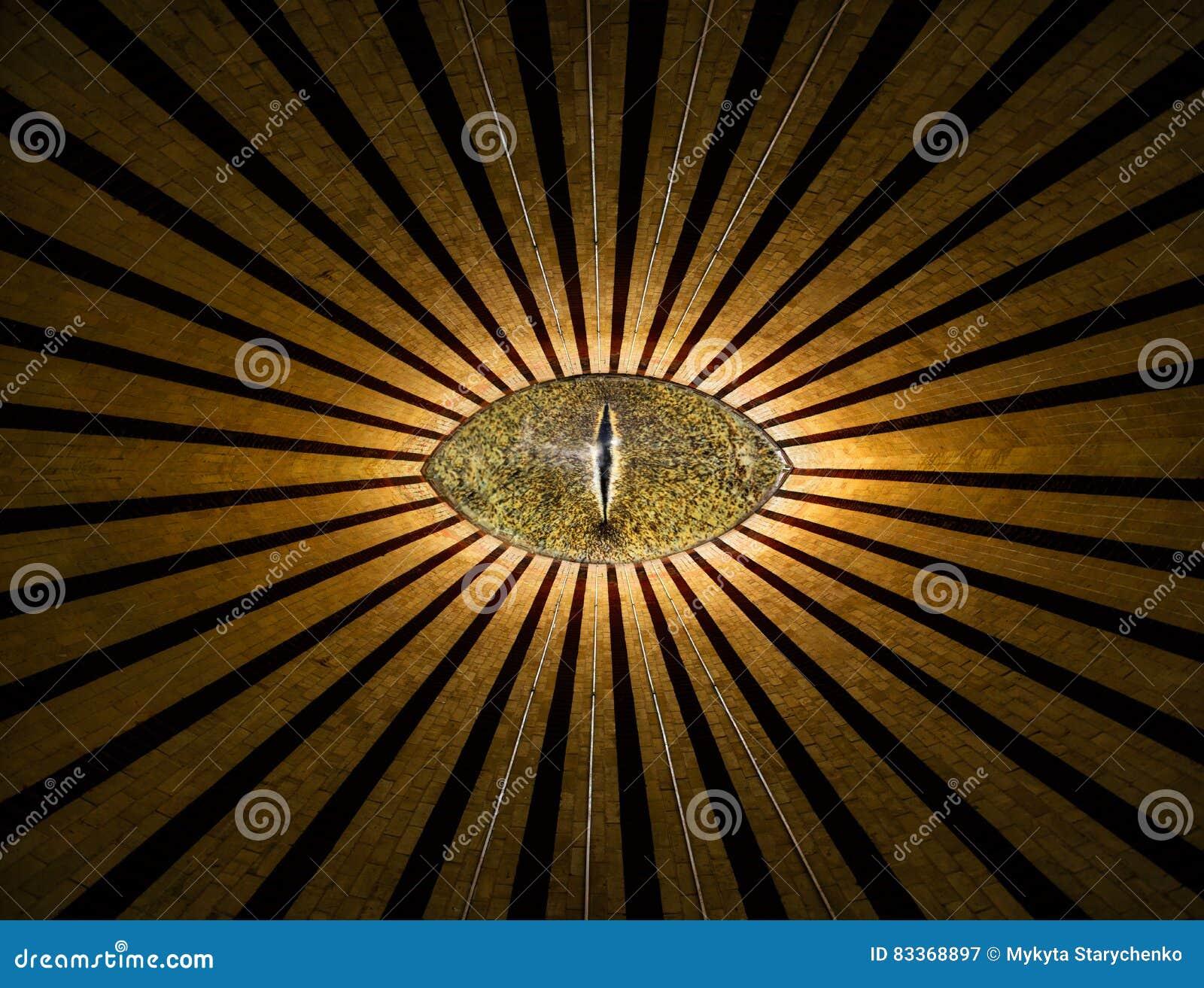 Złoty wszystkowidzący anonimowy oko z liniami i światło religii abstrakcjonistycznym tłem