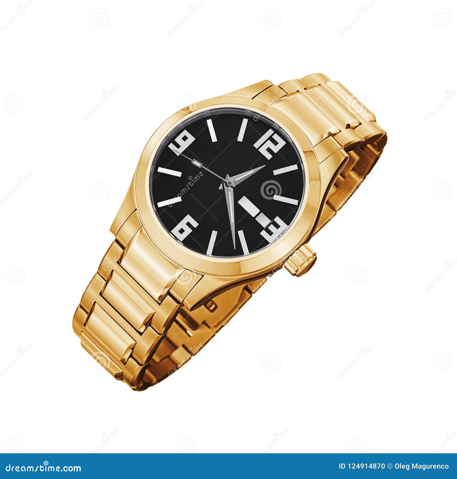 Złoty zegarek odizolowywający na bielu
