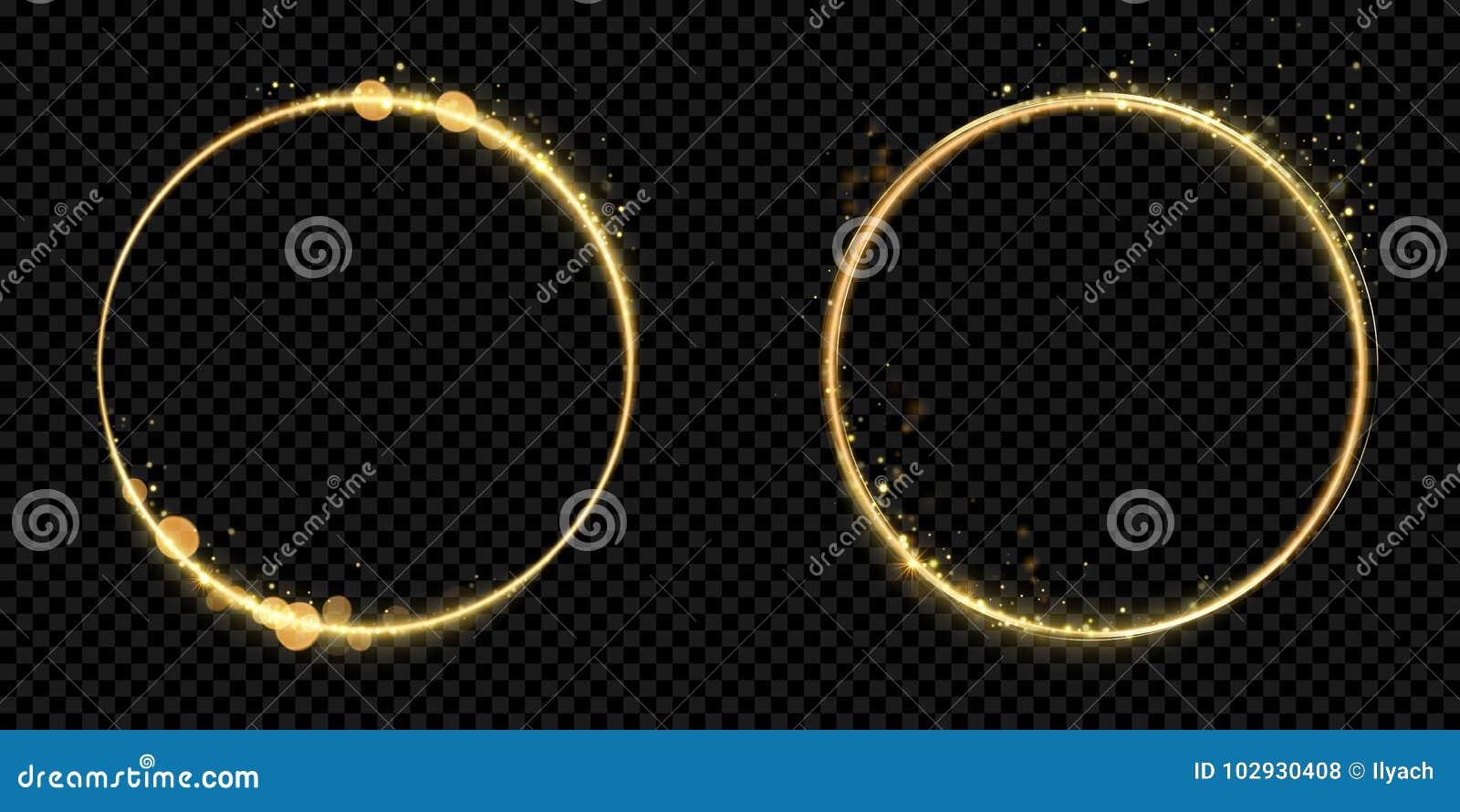 Złotych okrąg ramy błyskotliwości światła złocistych cząsteczek wektorowy błyszczący iskrzasty czarny tło