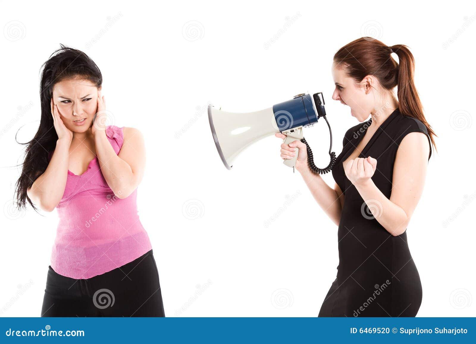 Zły bizneswomanu krzyczeć