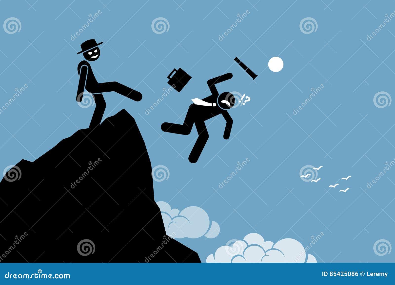 Zły mężczyzna kopania puszek jego partner biznesowy z wierzchu wzgórza