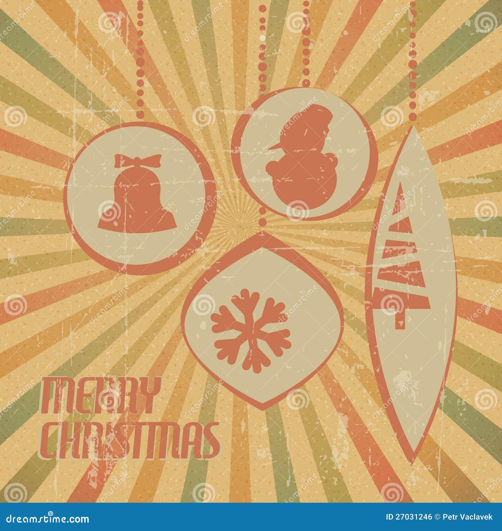 Z boże narodzenie dekoracjami retro Kartka bożonarodzeniowa