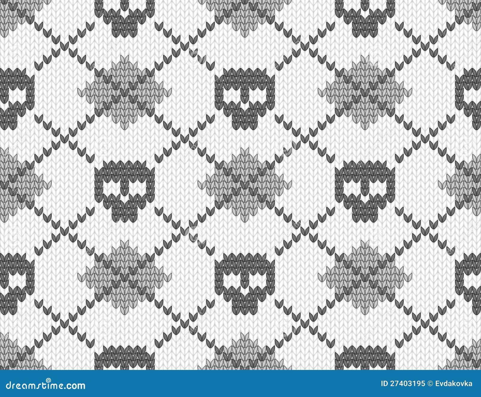 Z czaszkami trykotowy wzór